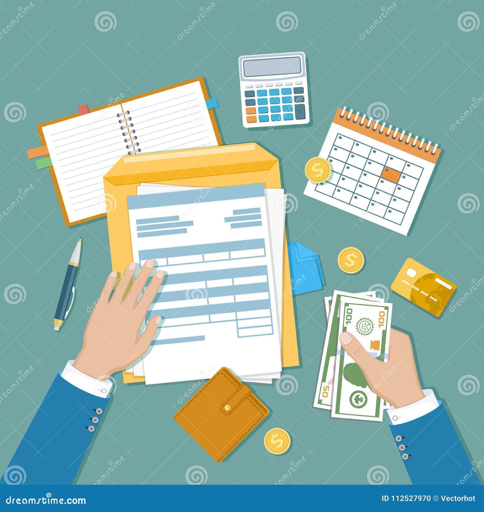 Het concept van de belastingsbetaling De Overheidsbelastingheffing van de staat, berekening van belastingaangifte Ongevulde lege
