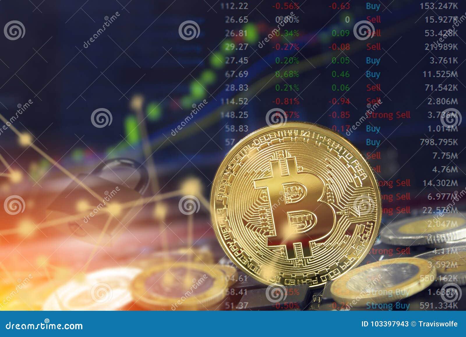 Het concept van de Bitcoin blockchain veiligheid met Internet-wolk gegevensverwerking en muntstukken op laptop met grafiek en slo