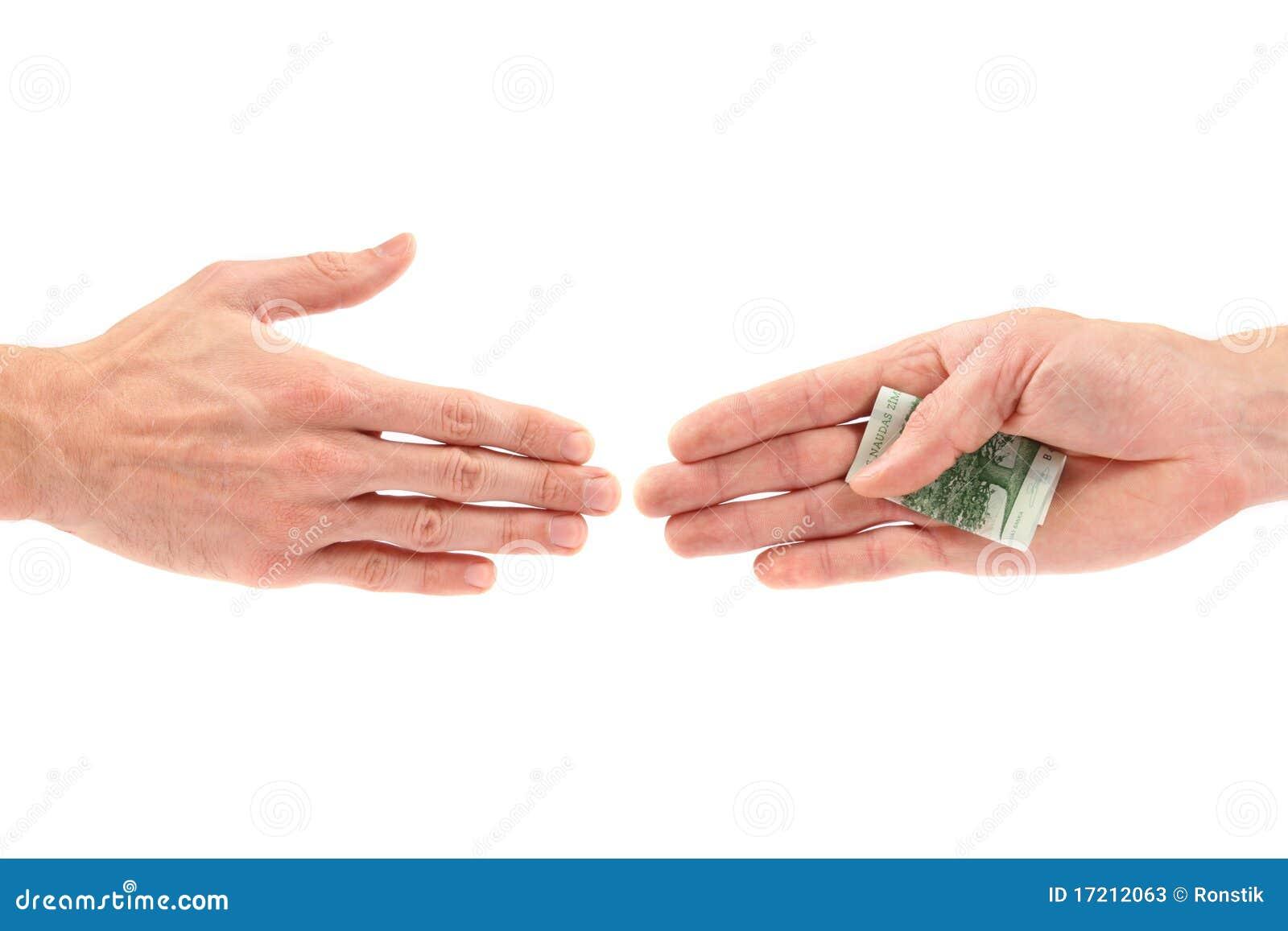 Het concept van de corruptie: hand die steekpenning geeft aan andere