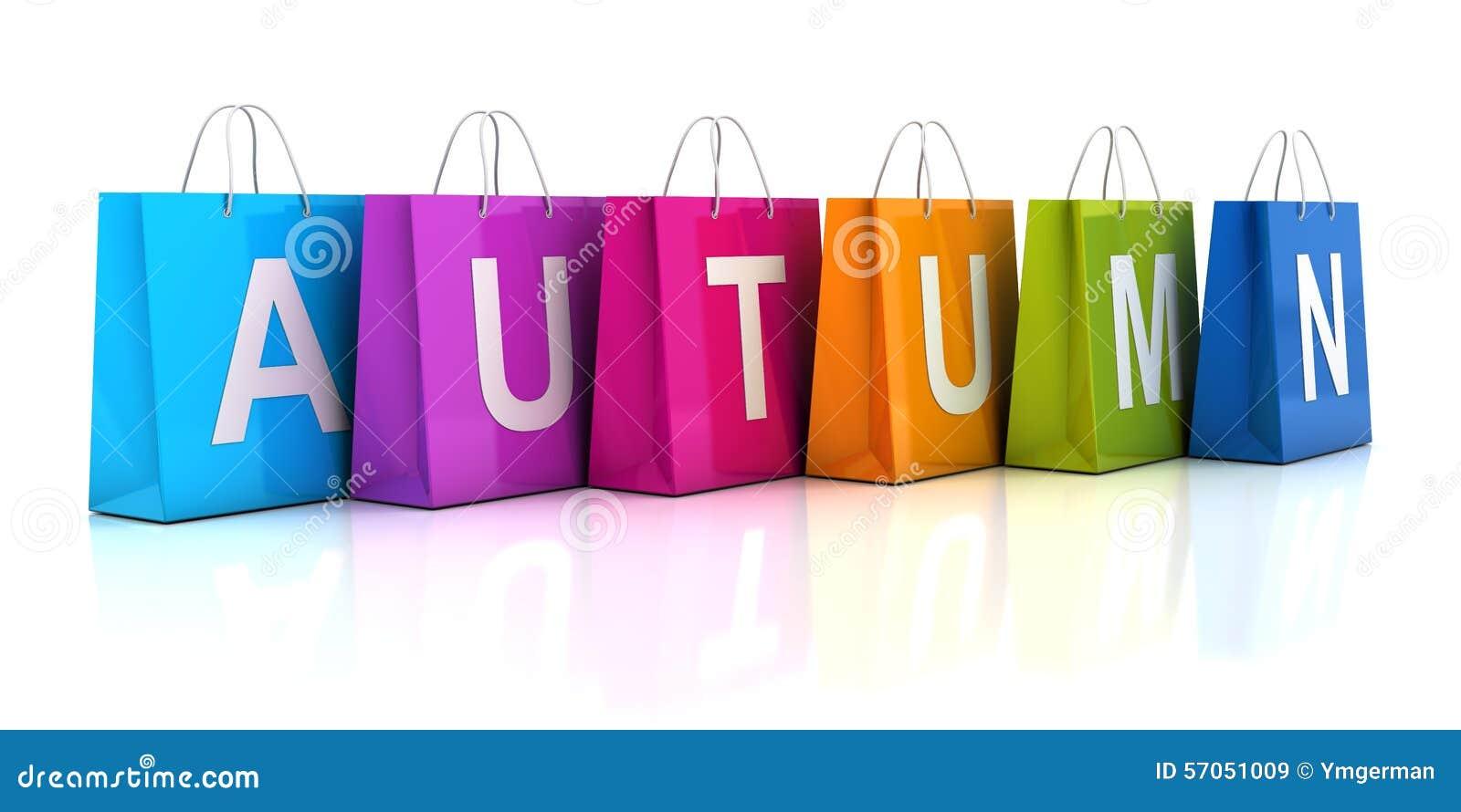 Het concept van de de herfstverkoop met het winkelen 3d zak, geeft terug