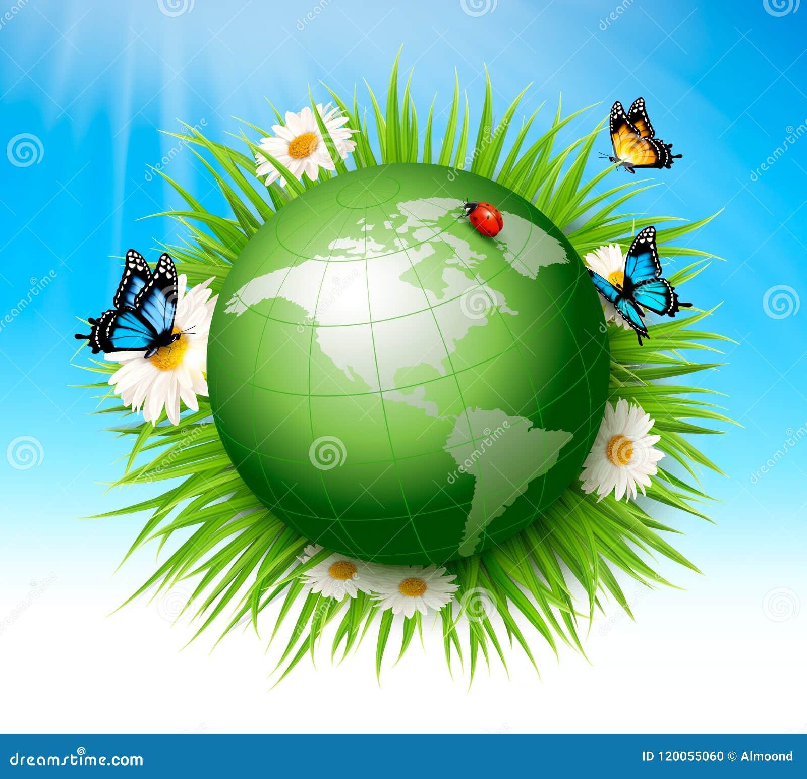 Het concept van de ecologie Groen Bol en Gras
