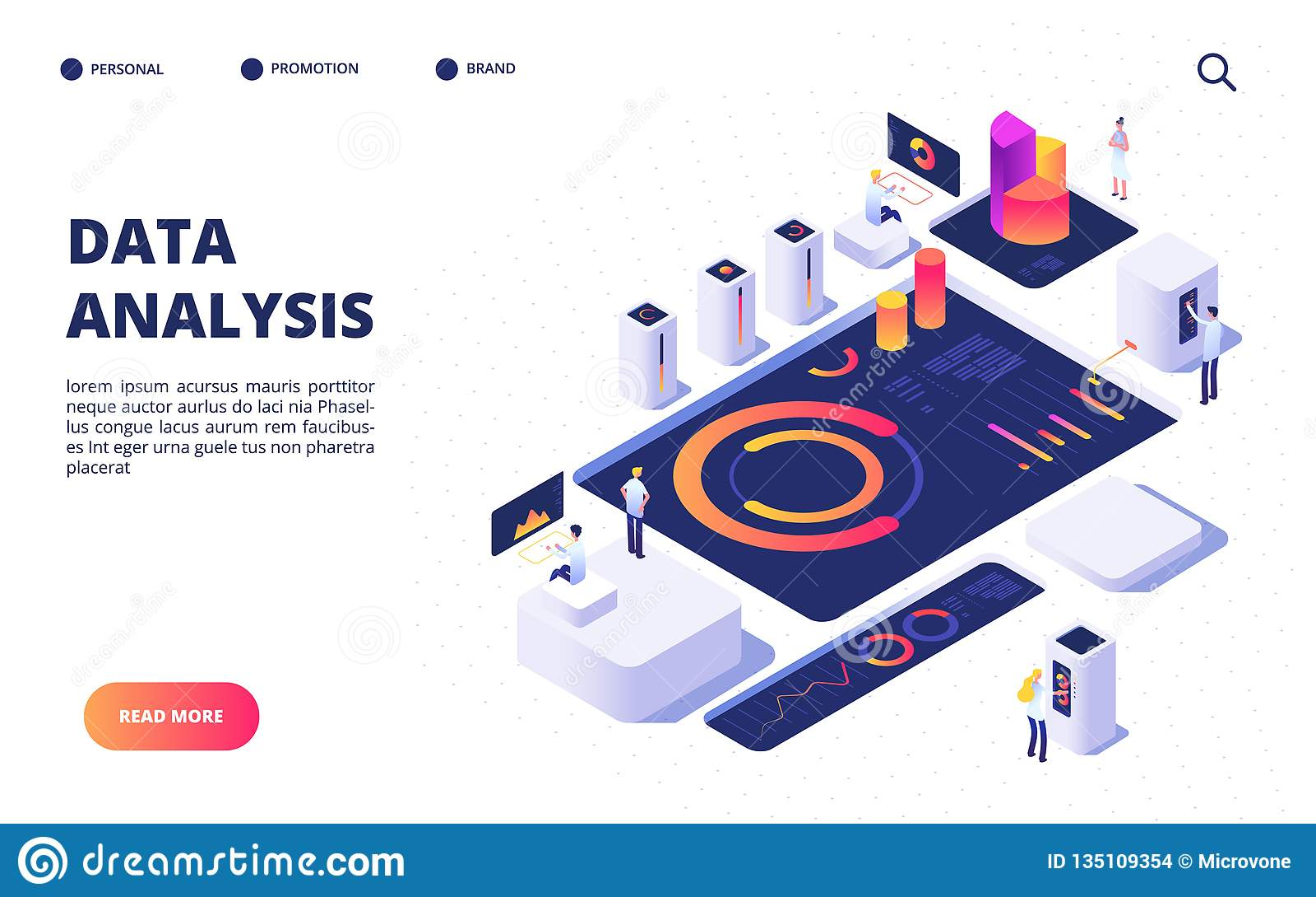 Het Concept van de gegevensanalyse Het commerciële team bouwt digitale infographic met dashboard, grafieken en diagrammen Landing