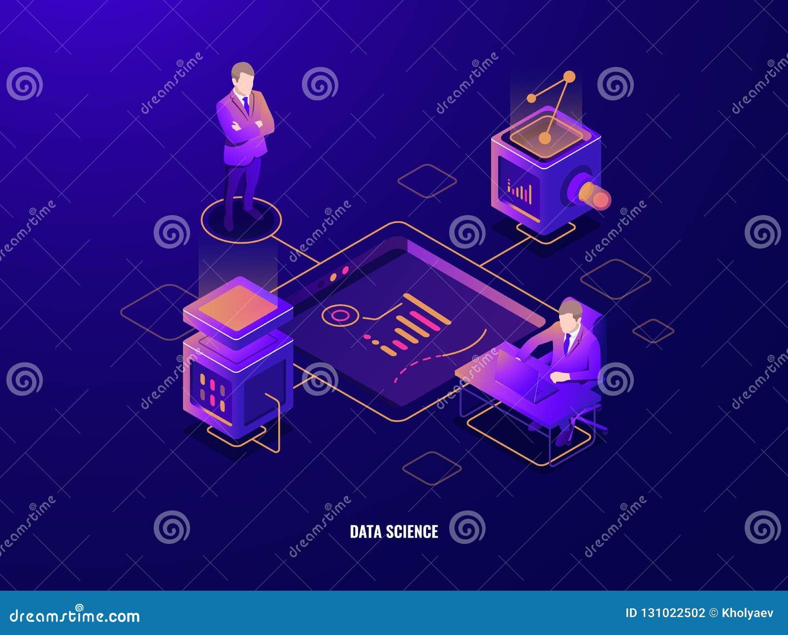 Het concept van de gegevensvisualisatie, het isometrische pictogram van het mensengroepswerk, samenwerking, serverruimte, program