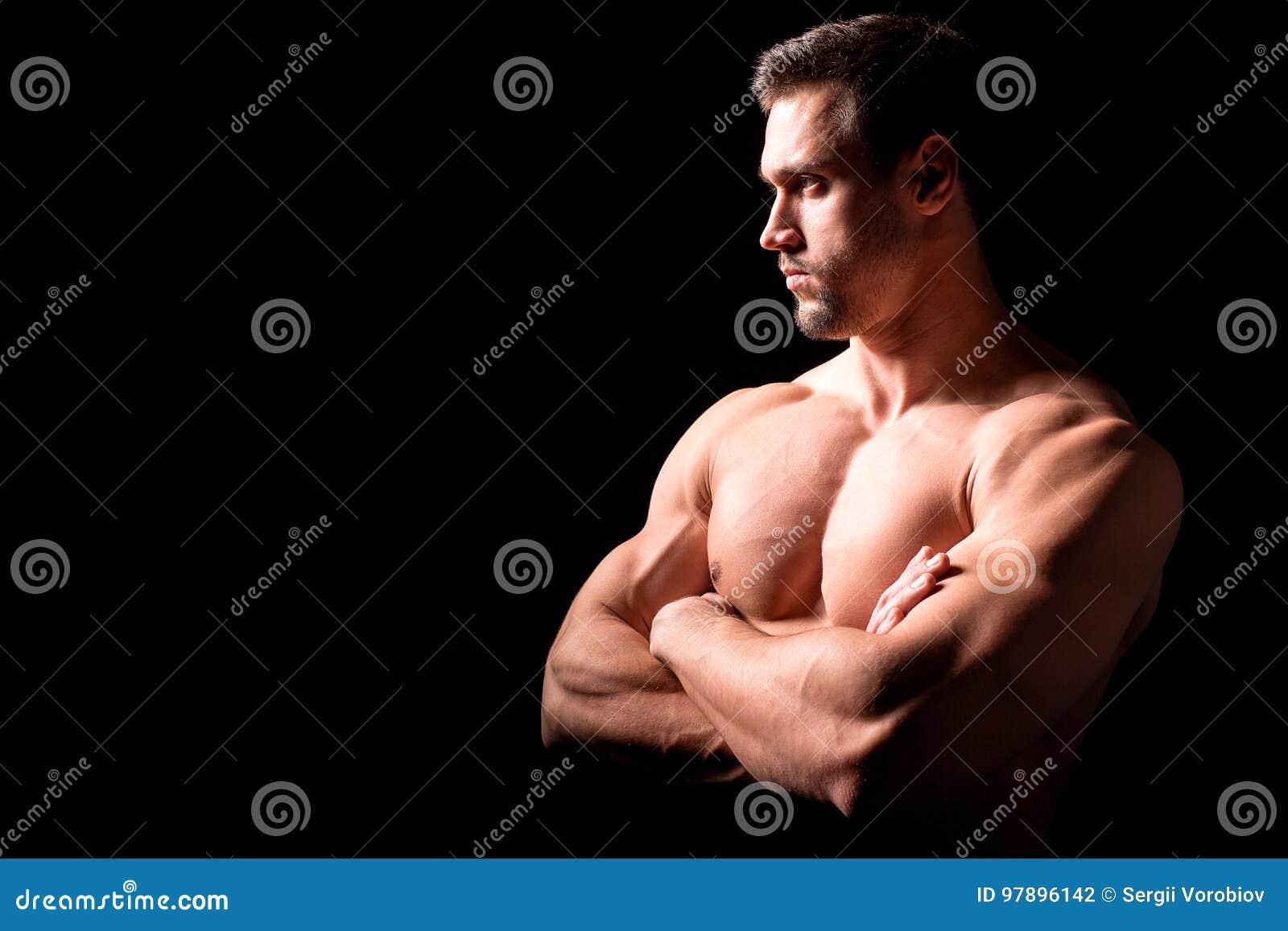 Het concept van de geschiktheid Spier en sexy torso van de jonge mens die perfecte abs, bicep en borst Mannelijke homp met atleti