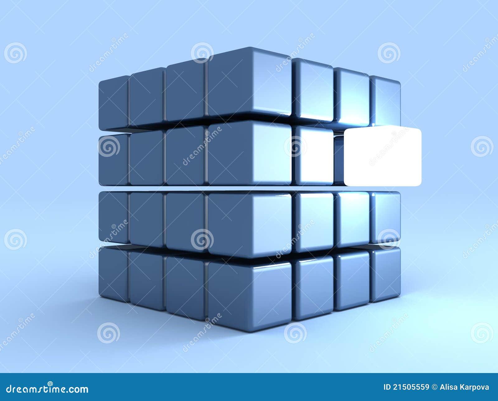 Het concept van de individualiteit met één glanzende kubus