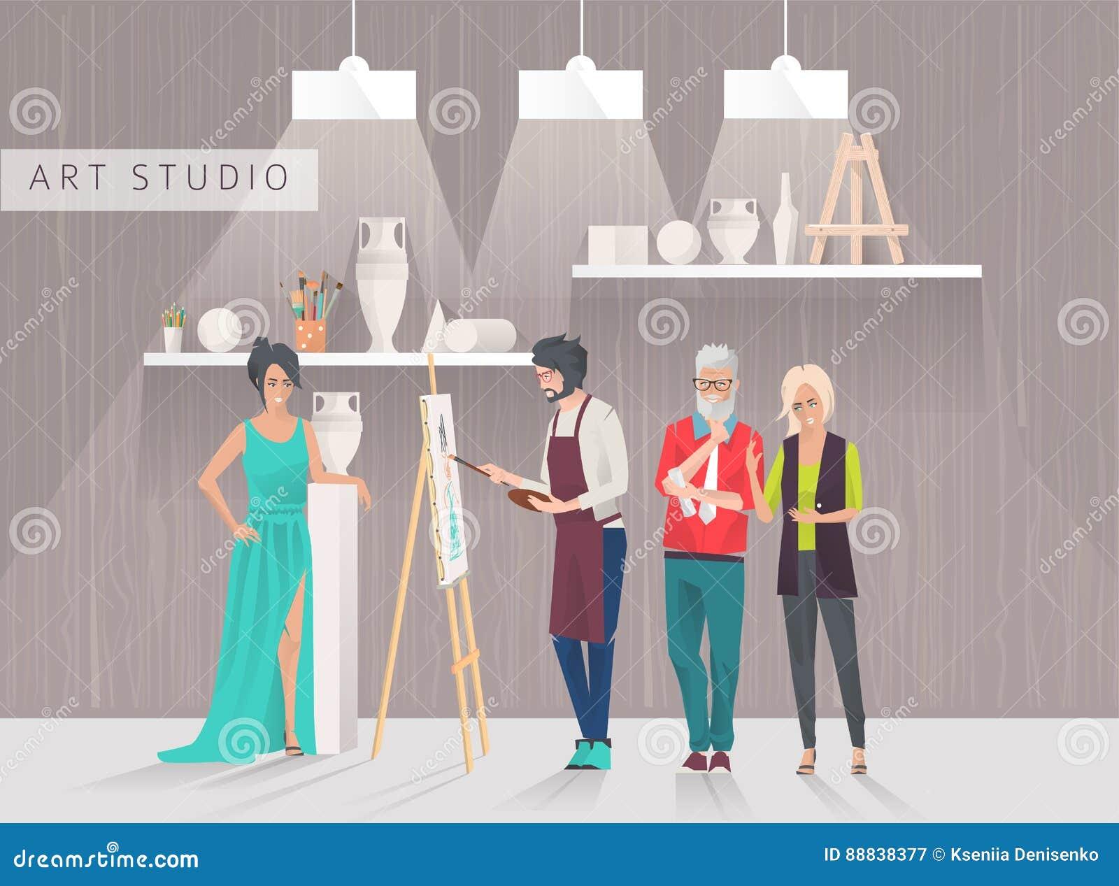 Het concept van de kunststudio