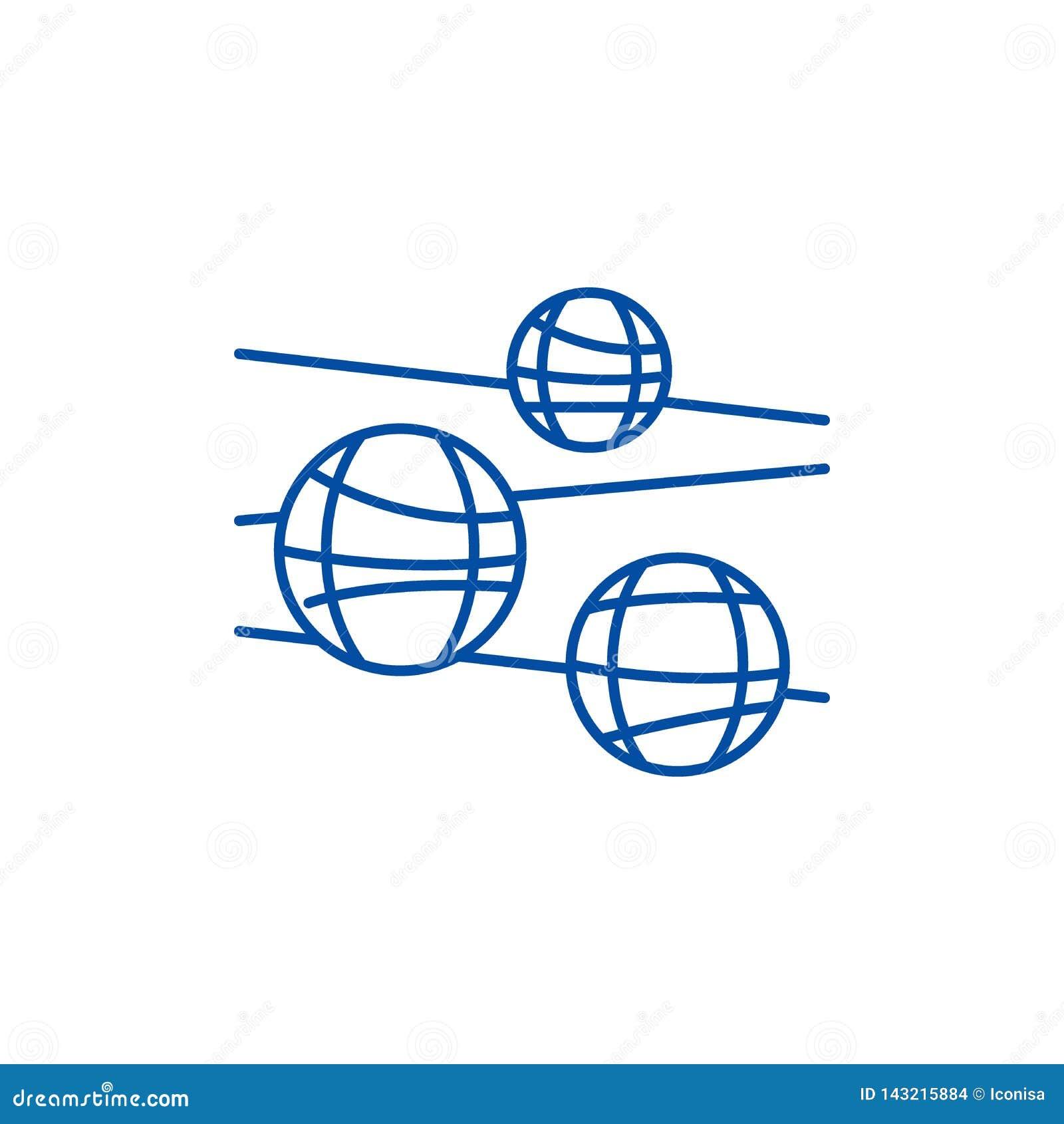 Het concept van het de lijnpictogram van discoballen Het vlakke vectorsymbool van discoballen, teken, overzichtsillustratie