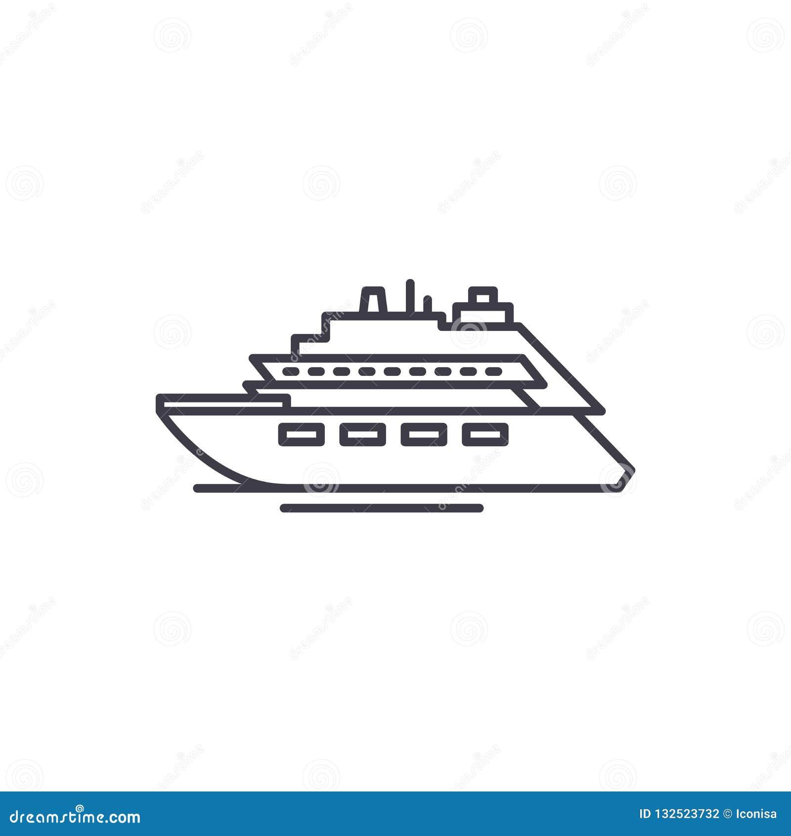 Het concept van het de lijnpictogram van het luxejacht De vector lineaire illustratie van het luxejacht, symbool, teken