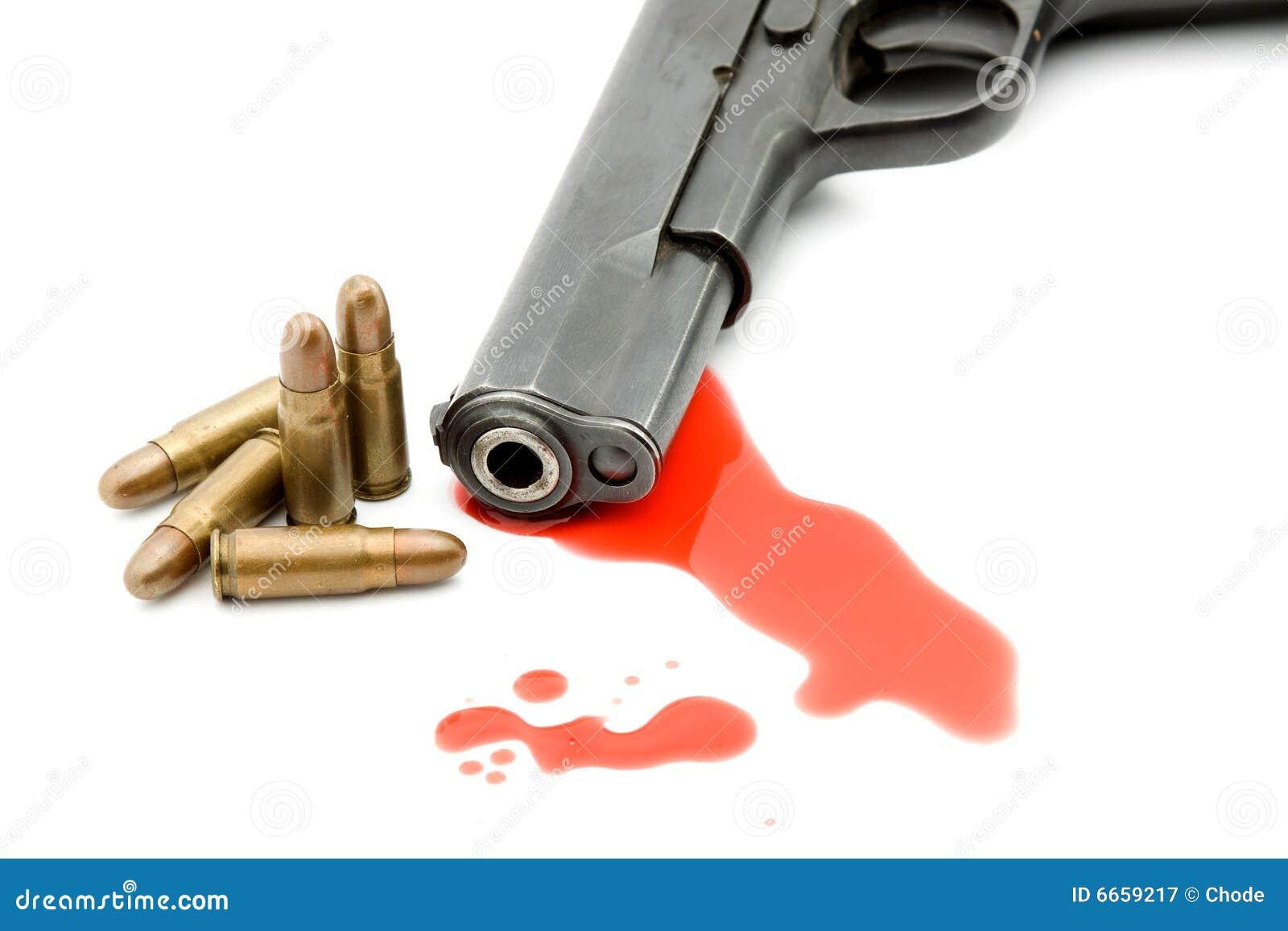 Het concept van de moord - kanon en bloed