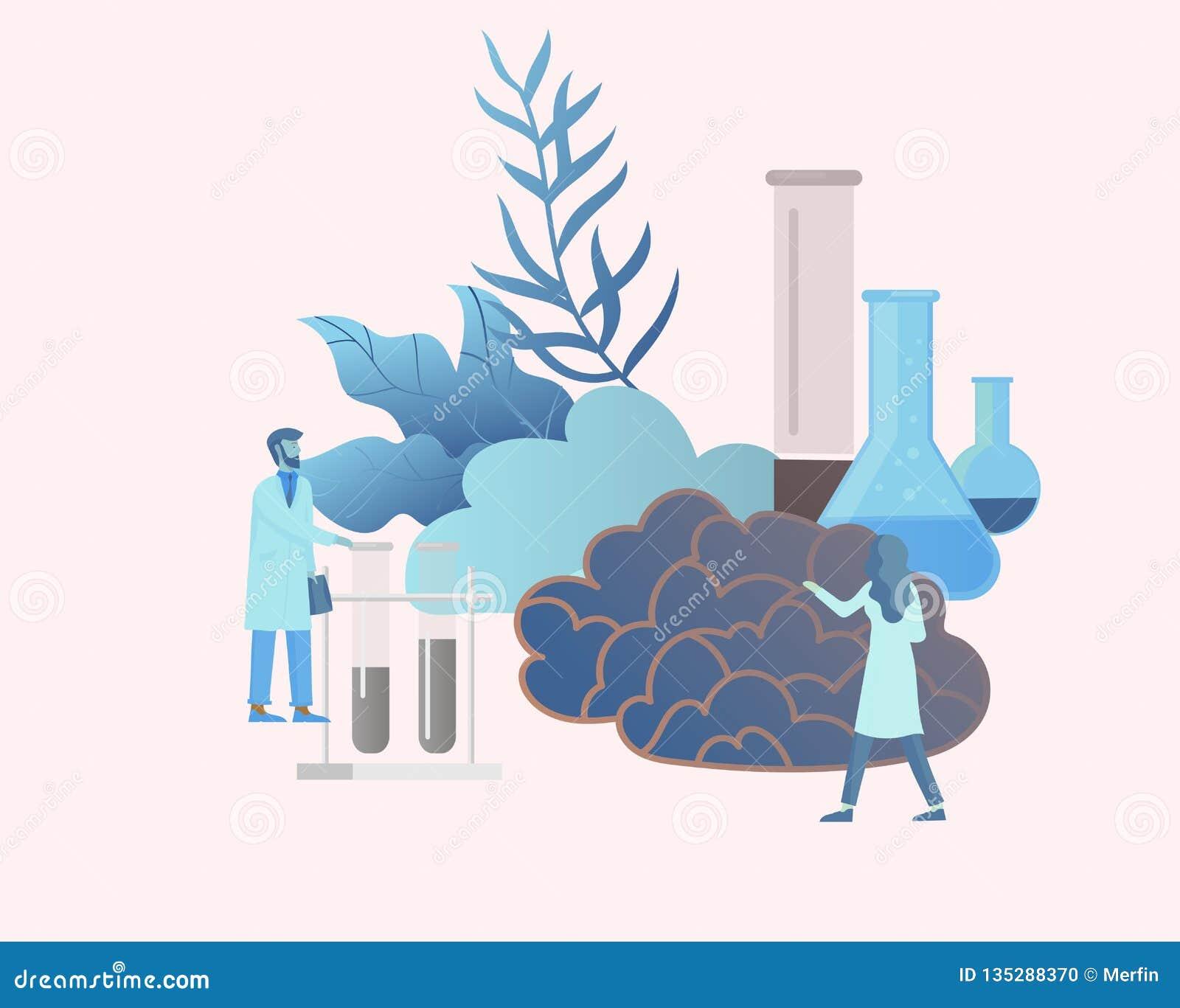 Het concept van de neurologiegenetica Vlak stijl klein mensen artsen medisch team die, construerend DNA, het onderzoeken werken