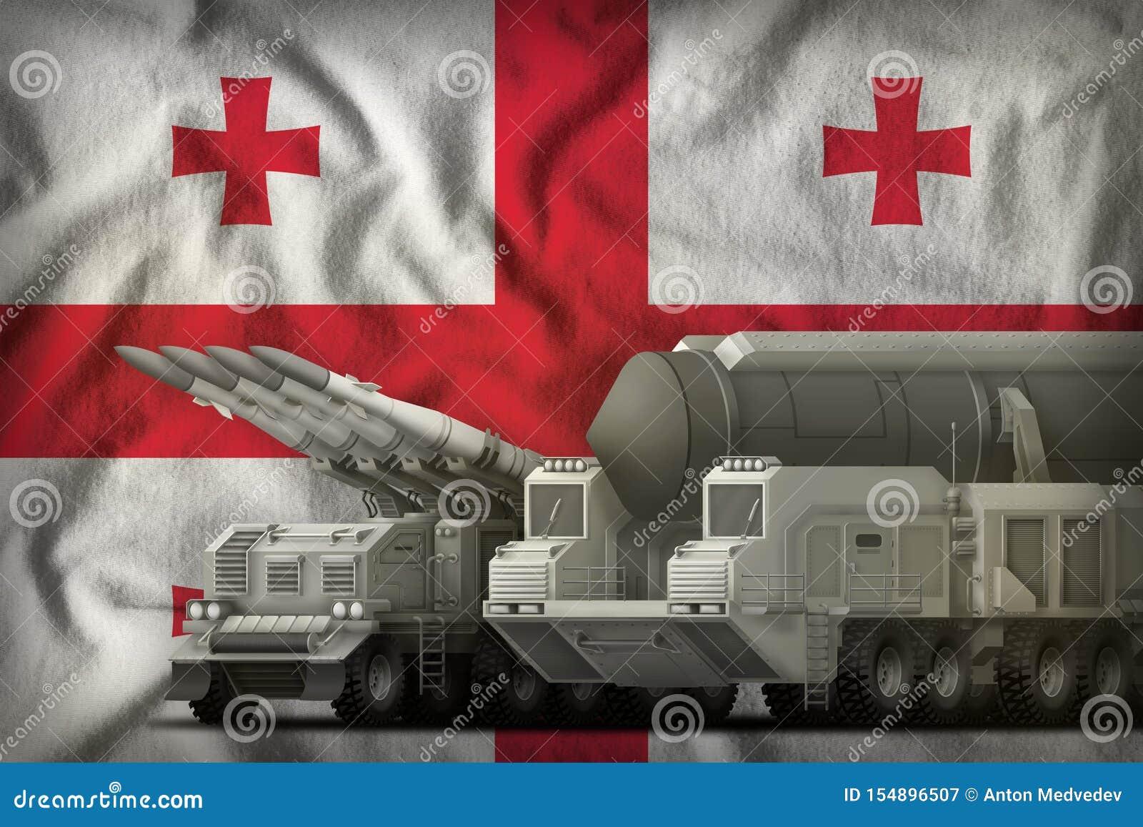 Het concept van de rakettroepen van Georgi? op de nationale vlagachtergrond 3D Illustratie