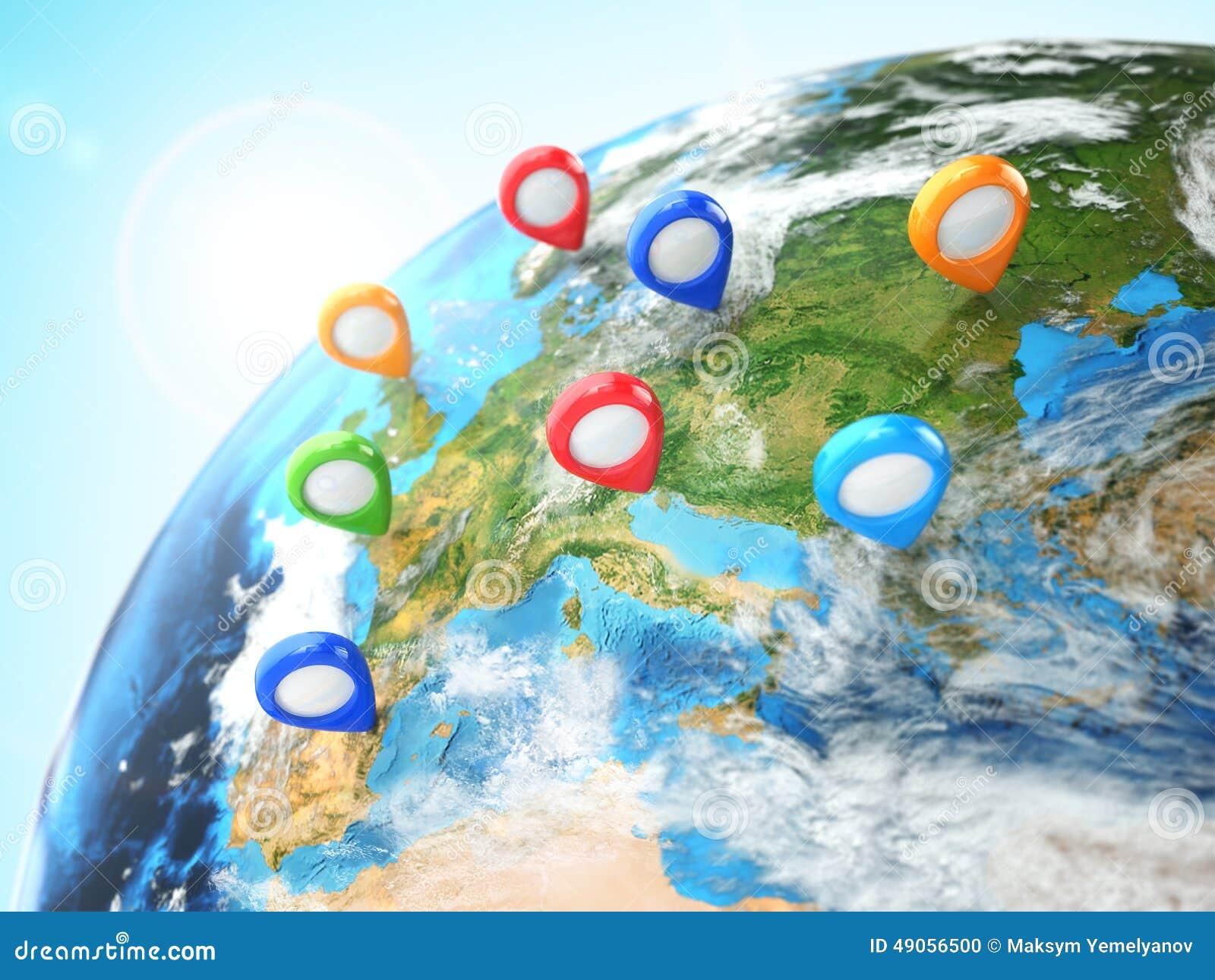 Het concept van de reisbestemming Speld ter wereld nearsighted