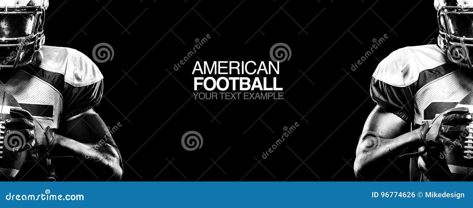 Het concept van de sport De Amerikaanse speler van de voetbalsportman op zwarte achtergrond met exemplaarruimte Het concept van d