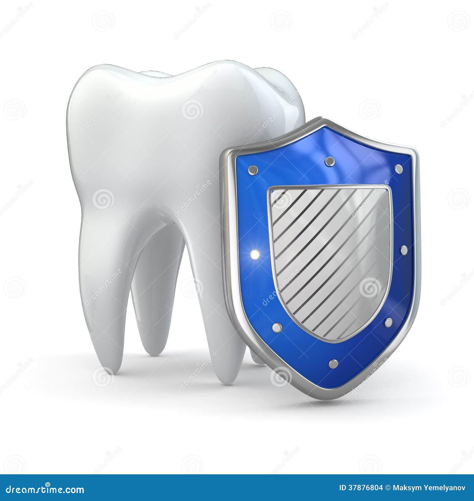 Het concept van de tandenbescherming. Schild en tand.