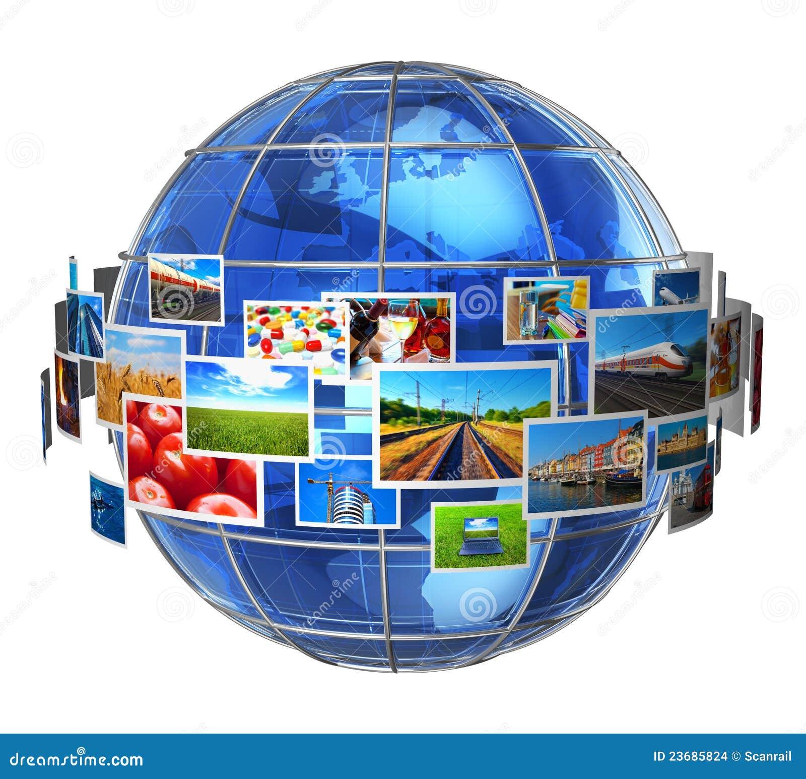 Het concept van de telecommunicatie en media van technologieën