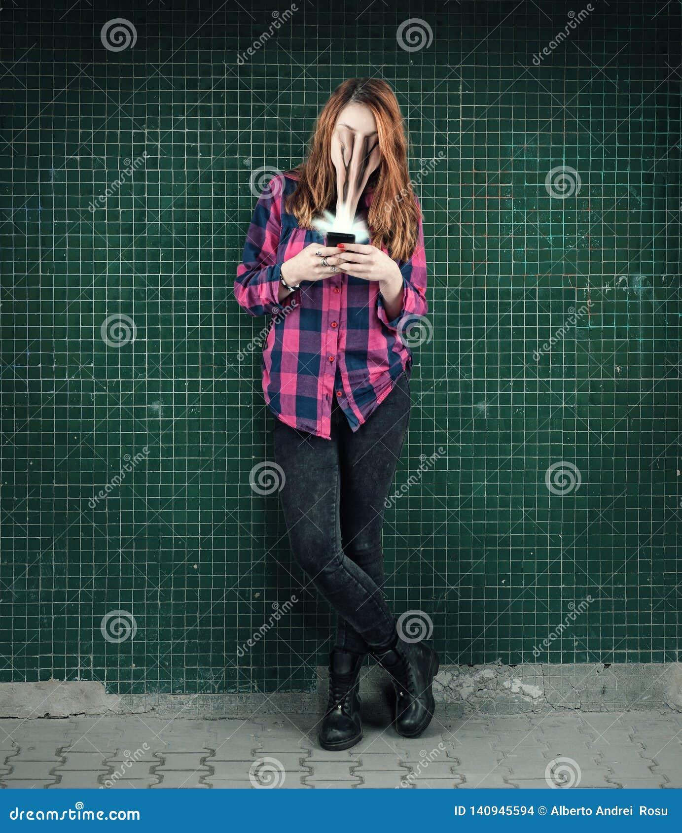 Het concept van de telefoonverslaving