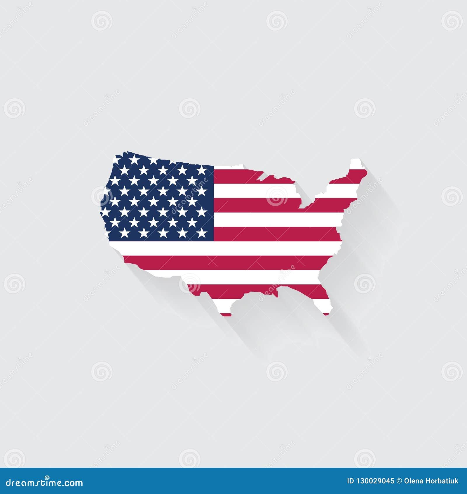Het concept van de V.S. door kaart en vlagpictogram wordt vertegenwoordigd dat geïsoleerd en F
