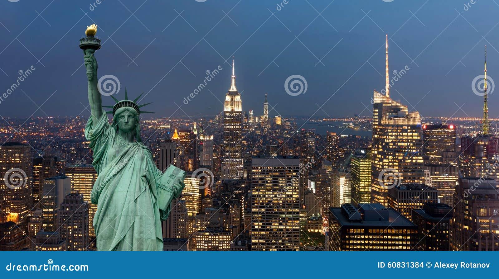 Het concept van de Verenigde Staten van Amerika met standbeeld van vrijheidsconcept