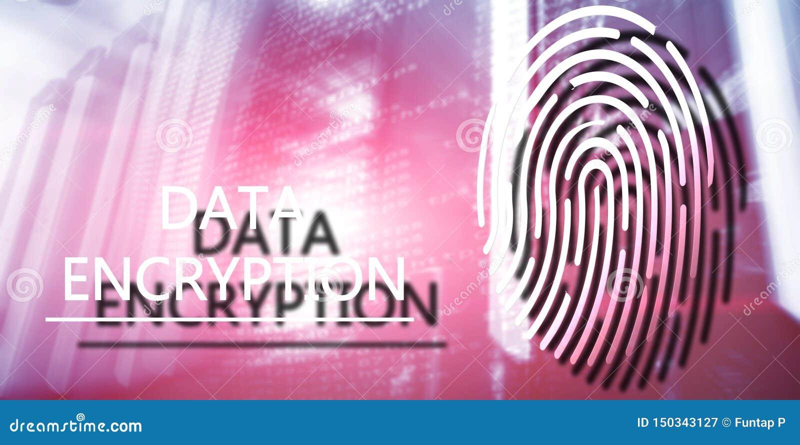 Het concept van de vingerafdrukbescherming: Gegevensversleuteling op digitale supercomputerachtergrond
