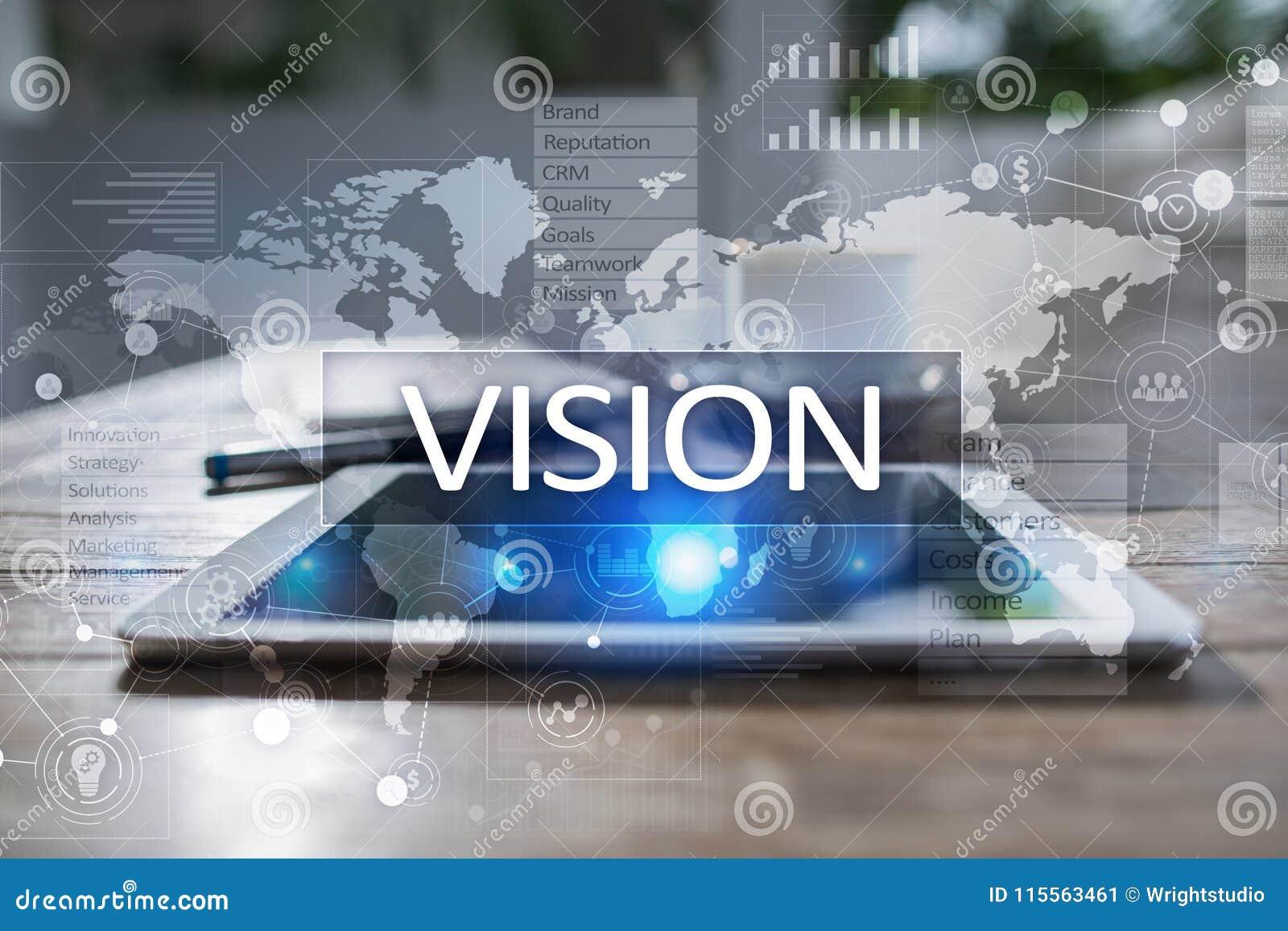 Het concept van de visie Zaken, Internet en technologieconcept