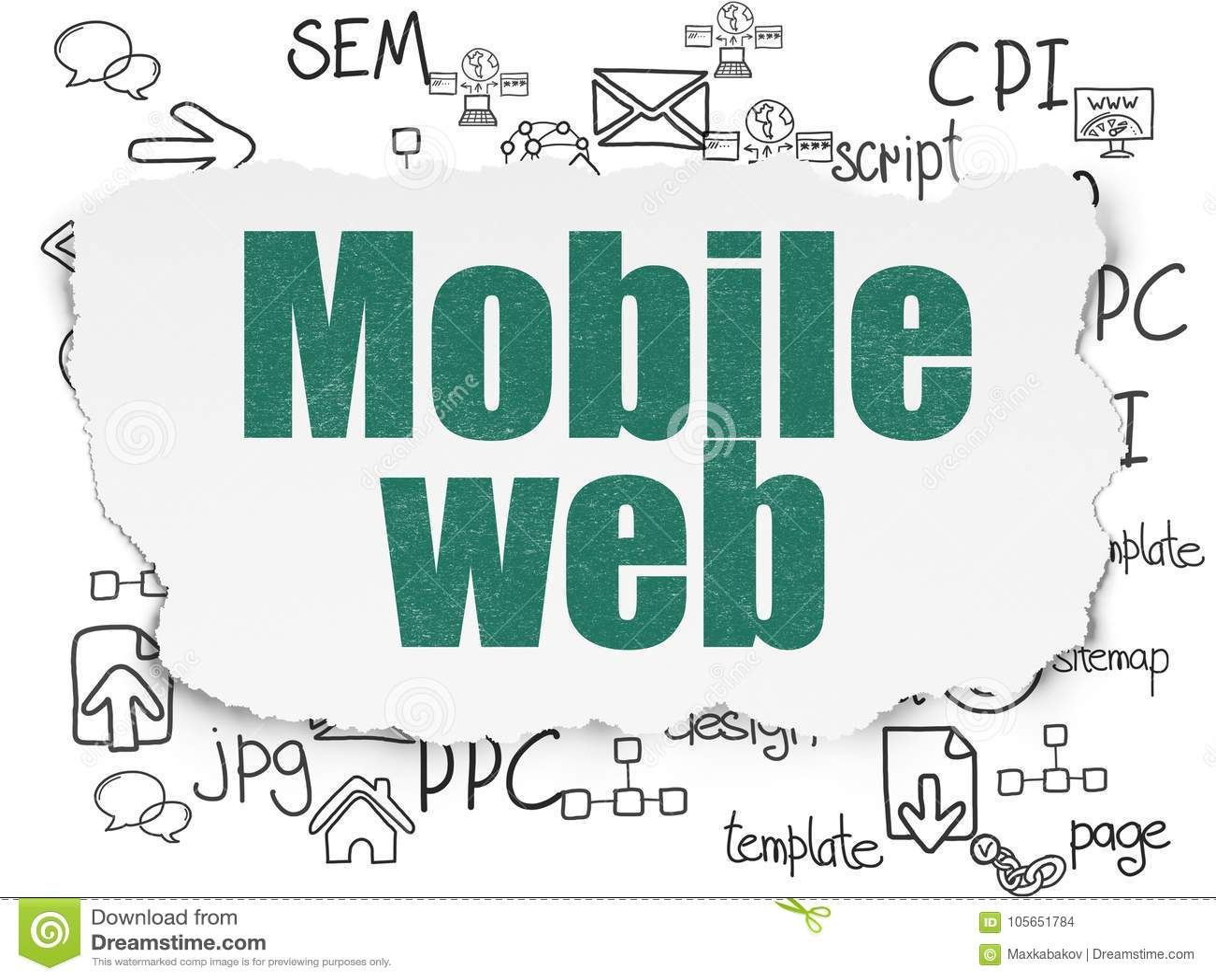 Het concept van de Webontwikkeling: Mobiel Web op Gescheurde Document achtergrond