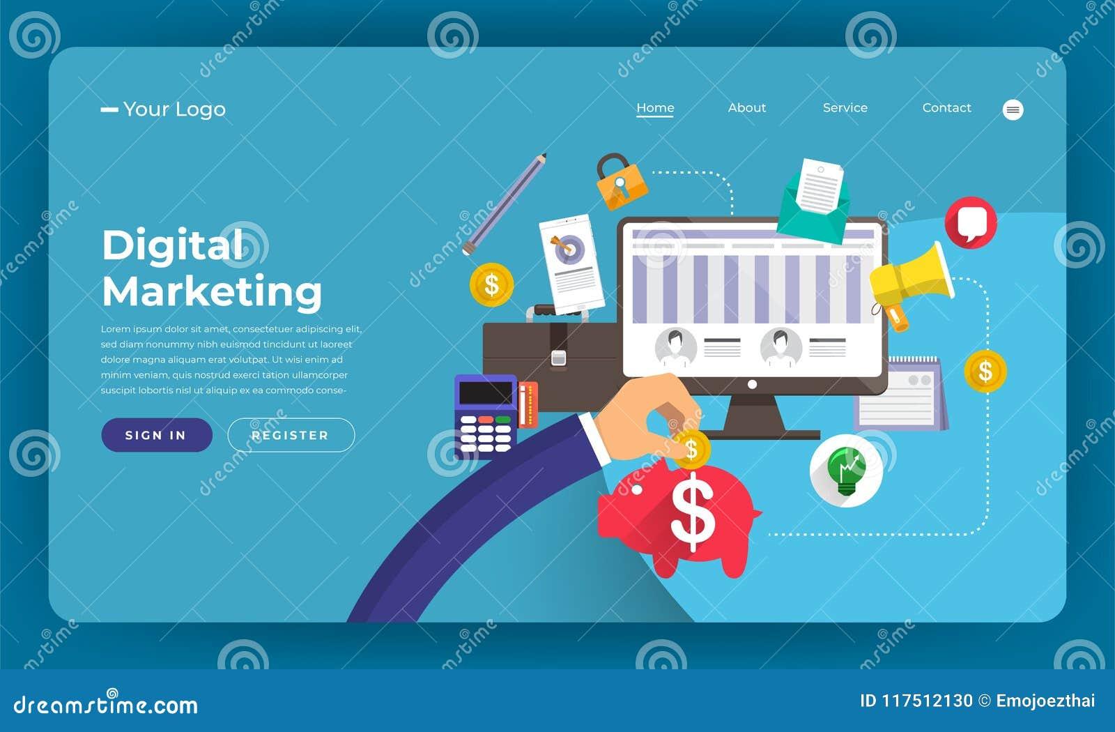 Het concept van het de website vlakke ontwerp van het modelontwerp digitale marketing Ve