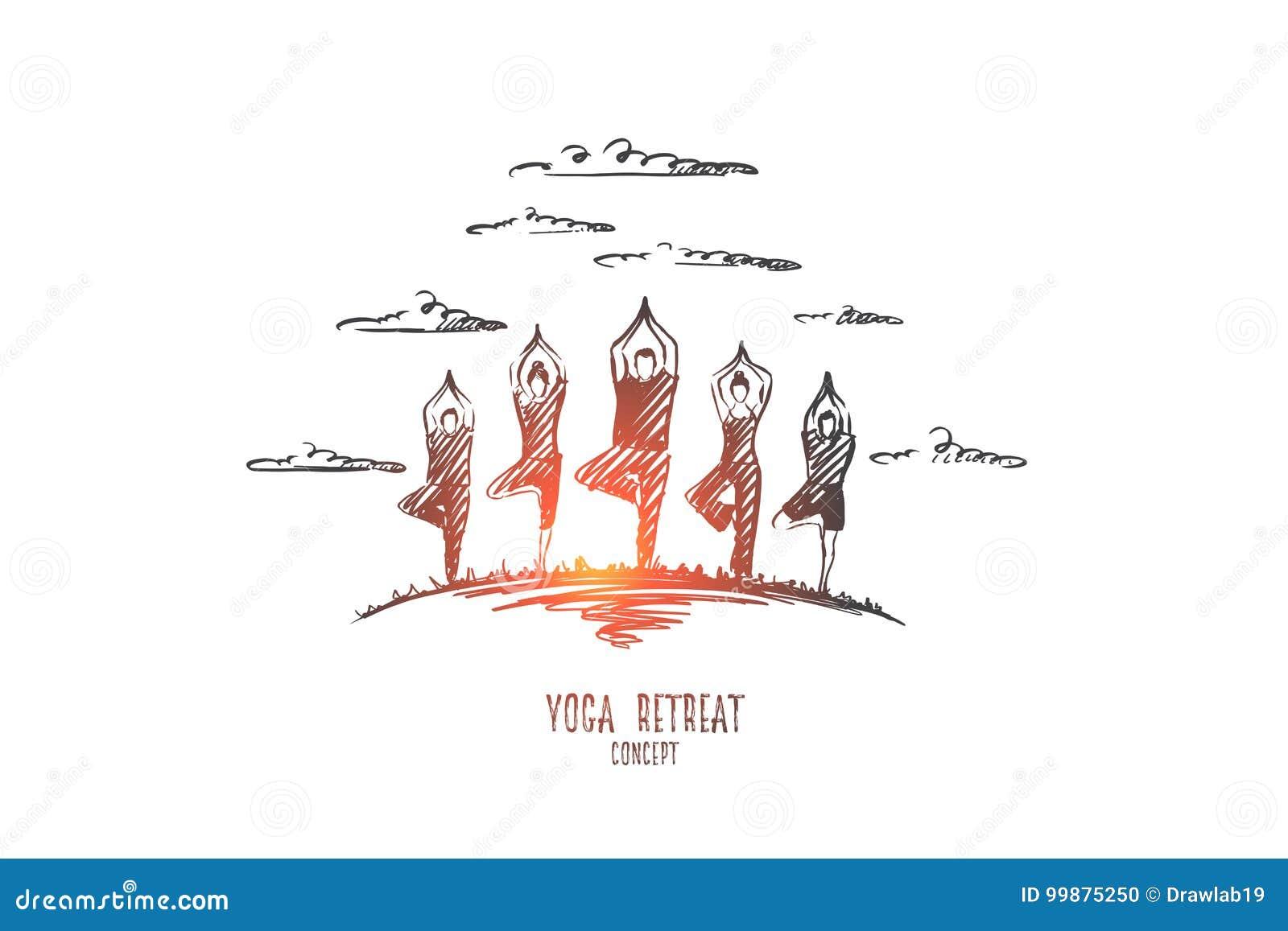 Het concept van de yogaterugtocht Hand getrokken geïsoleerde vector