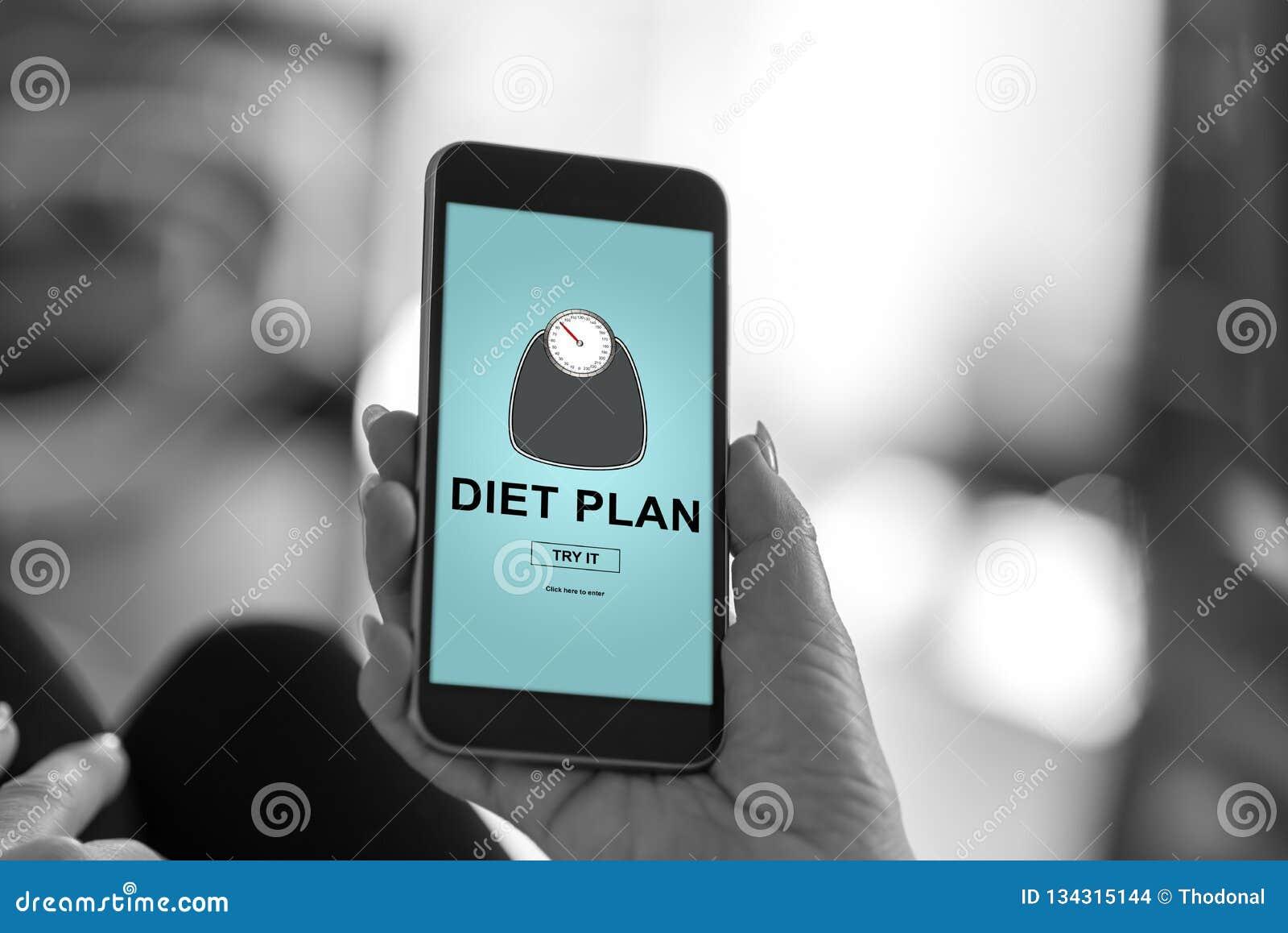 Het concept van het dieetplan op een smartphone