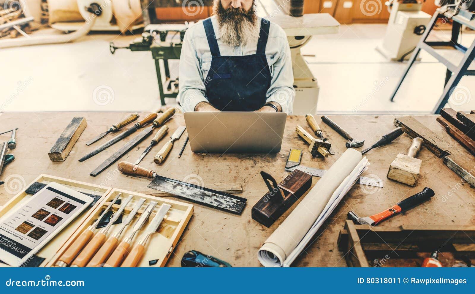 Het Concept van Handicraft Wooden Workshop van de timmermansvakman
