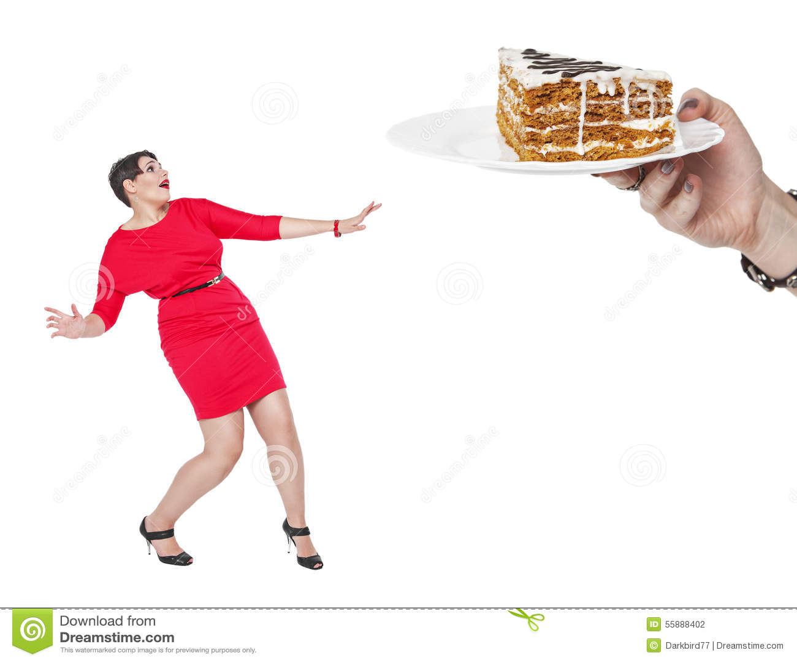 Het concept van het dieet en van de voeding Plus de bange cake van de groottevrouw