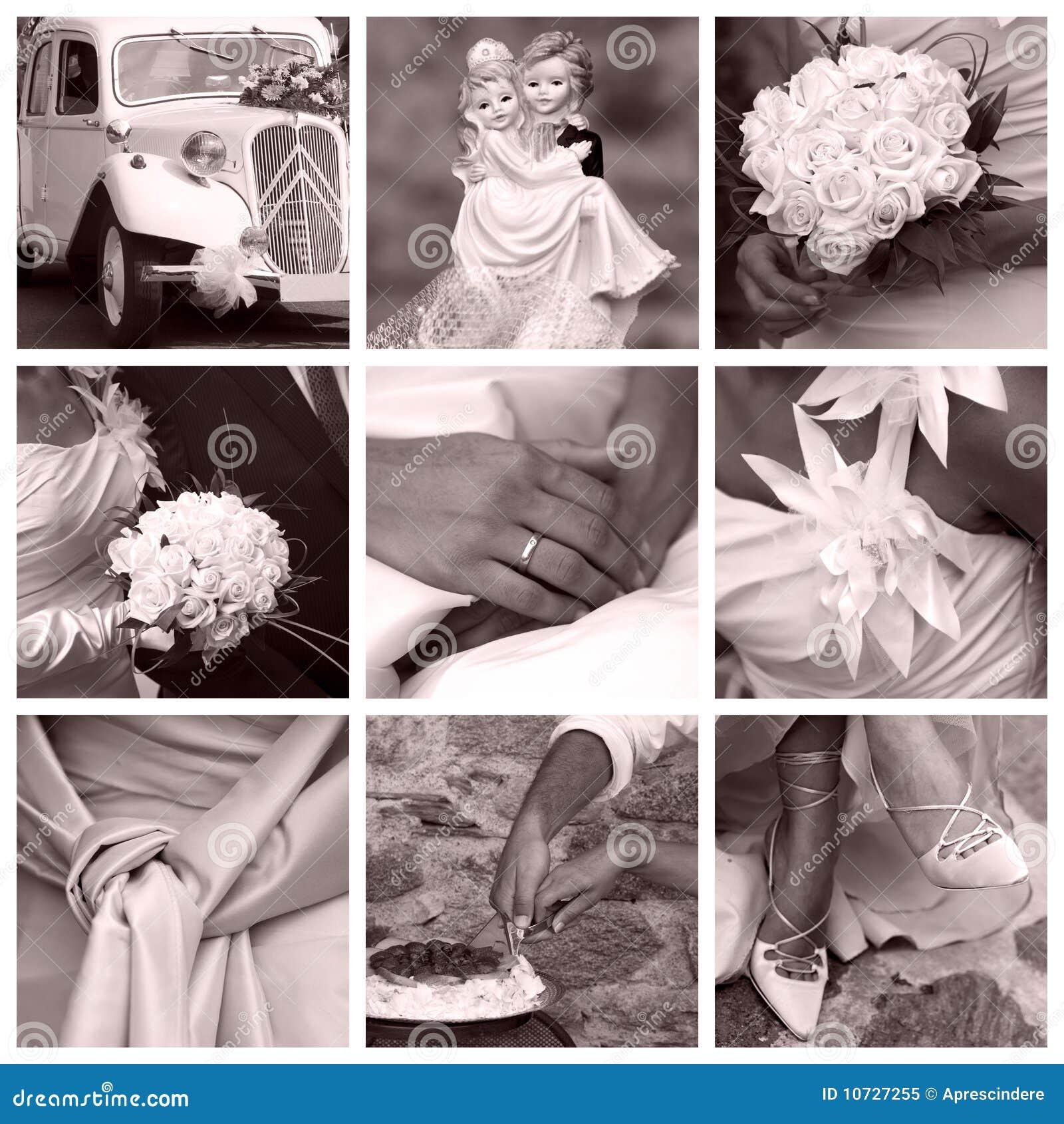 Het concept van het huwelijk - collage