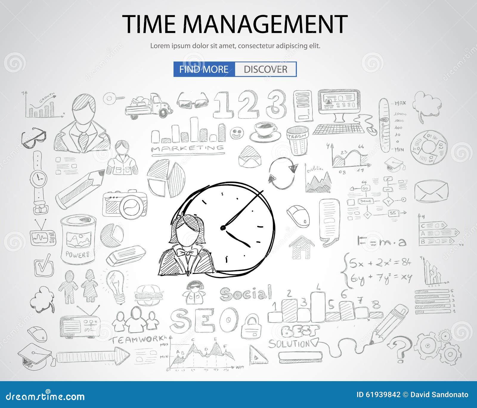 Het concept van het tijdbeheer met de stijl van het Krabbelontwerp