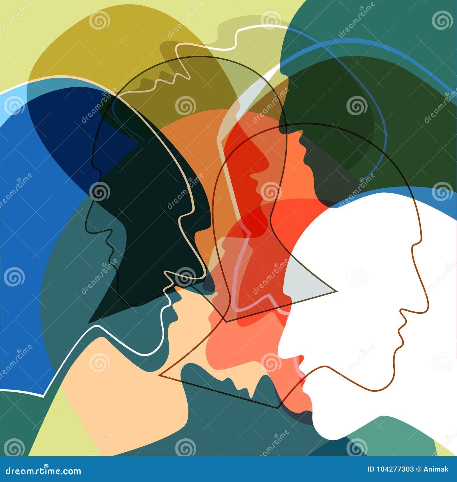 Het concept van hoofdenmensen, symbool van communicatie tussen mensen