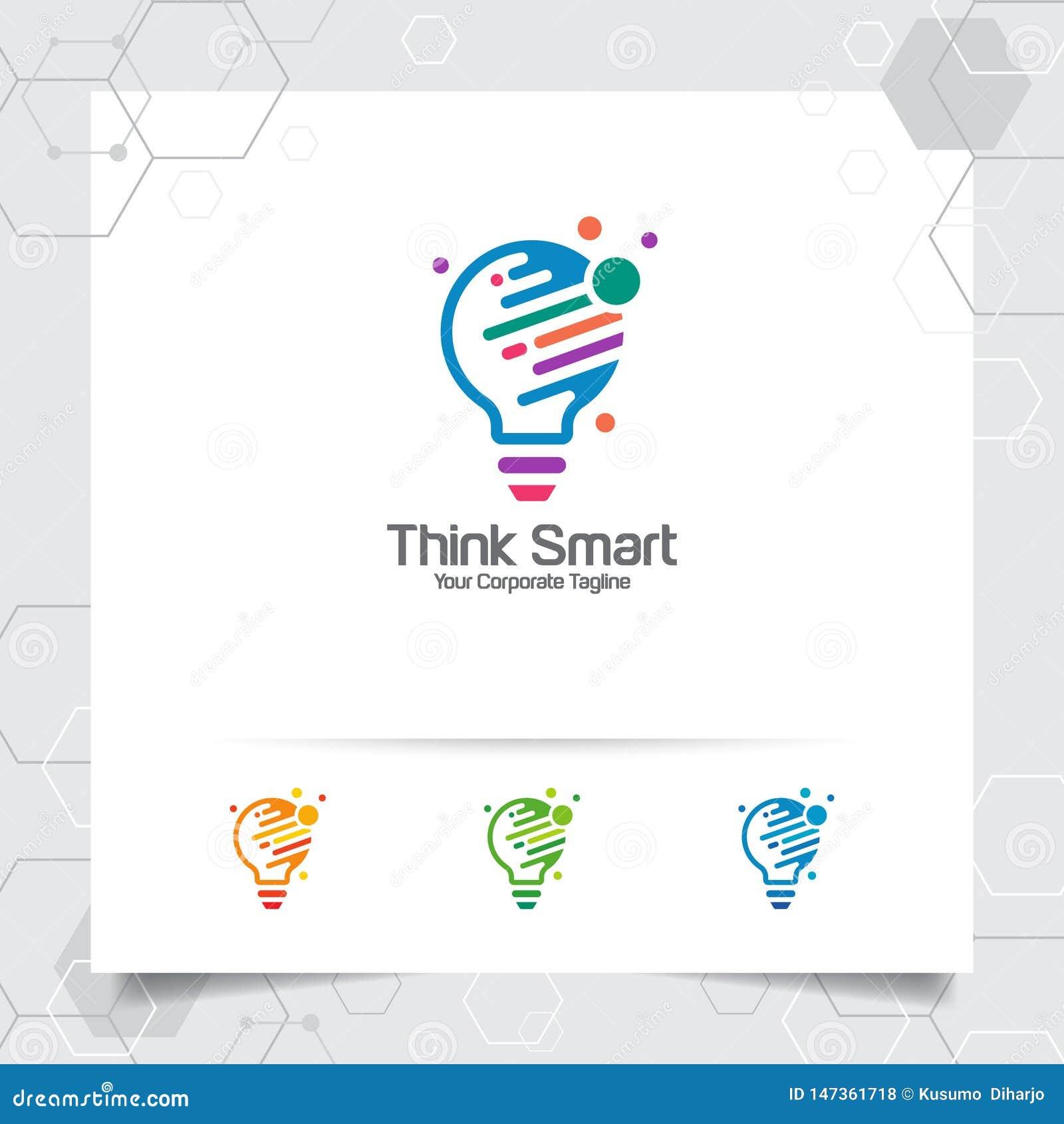 Het concept van het het ideeontwerp van het bolembleem digitale kleurrijke symbool en pictogramlampvector Slim die ideeembleem vo