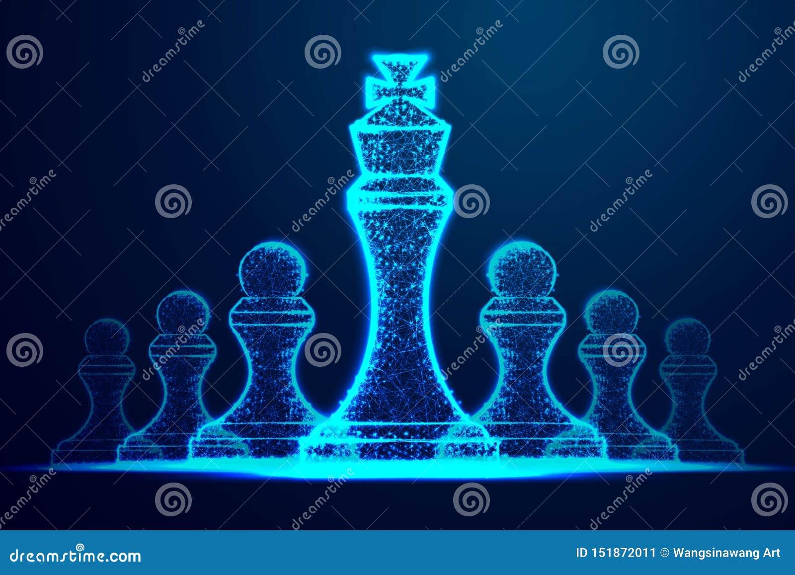 Het concept van het leiderssucces het cijfer van het koninginschaak als symbool van leiding Succesvolle uitdaging Abstract wirefr