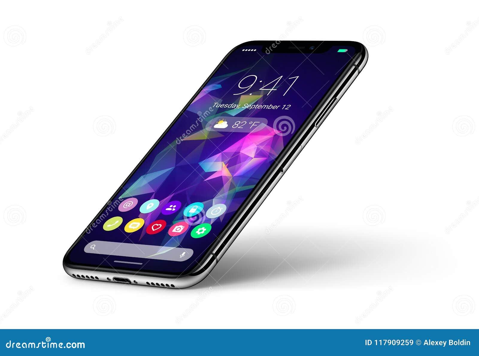 Het concept van perspectief veiw smartphone met materiële ontwerp vlakke UI interface met schaduw