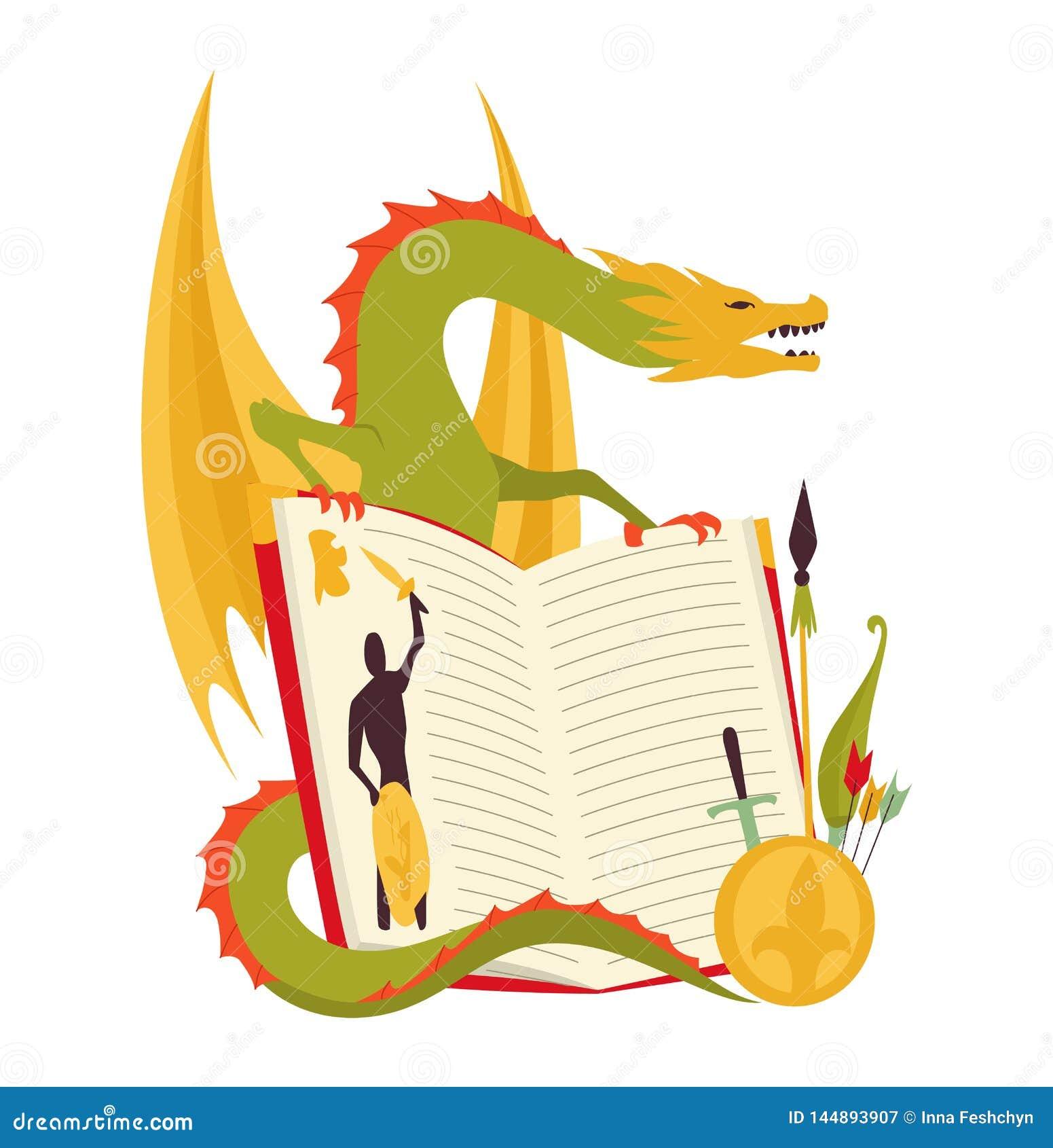Het concept van het sprookjeboek - jonge geitjesillustratie met kwade draak, moedige strijder Verbeelding die aan het leven in ko