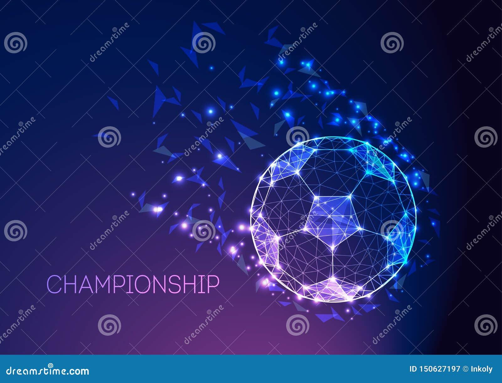Het concept van het voetbalkampioenschap met futuristische voetbalbal op donkerblauwe purpere gradiëntachtergrond