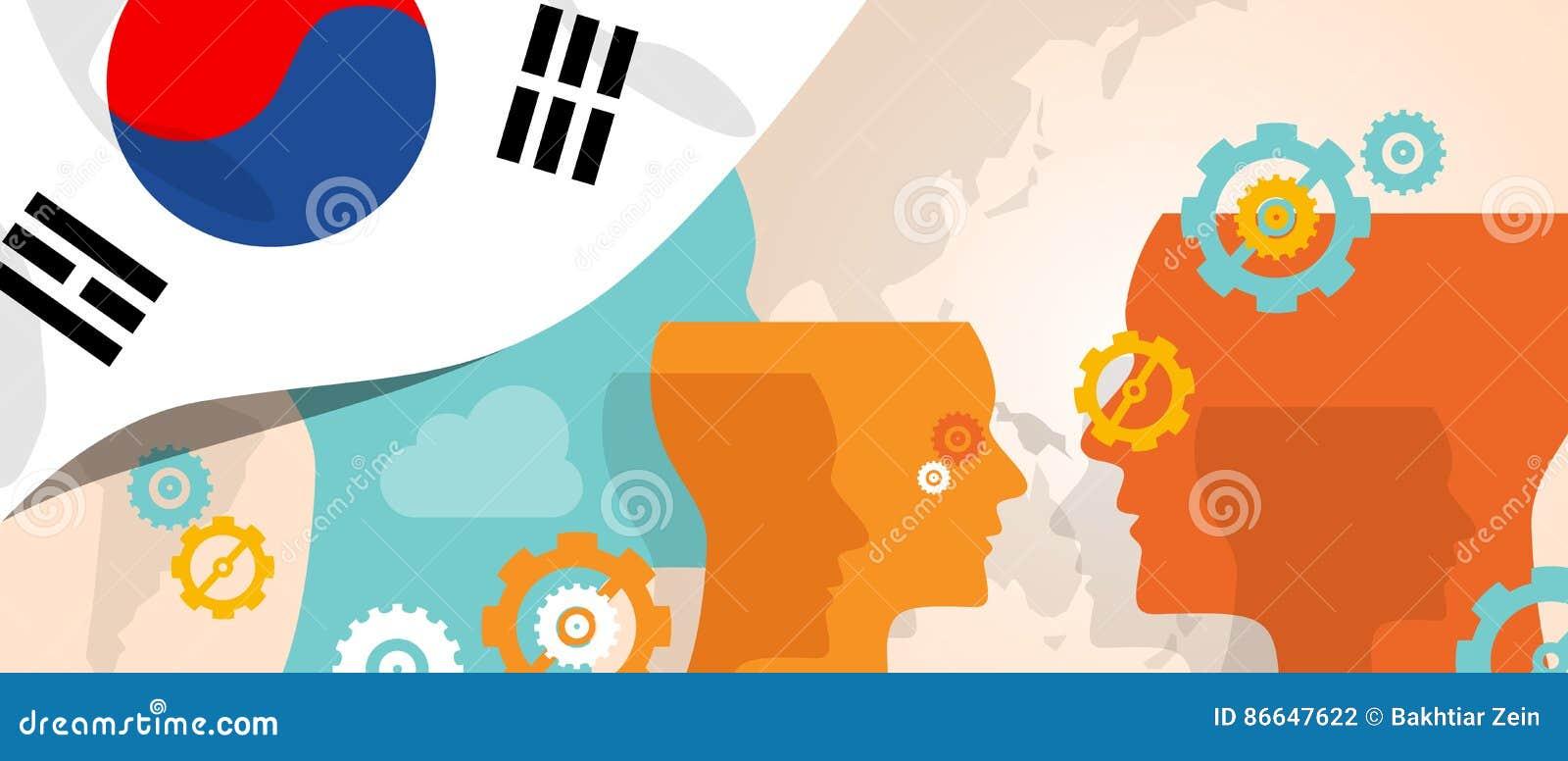 Het concept van Zuid-Korea het denken toenemende innovatie bespreekt het toekomstige de hersenen van het land stormen onder versc