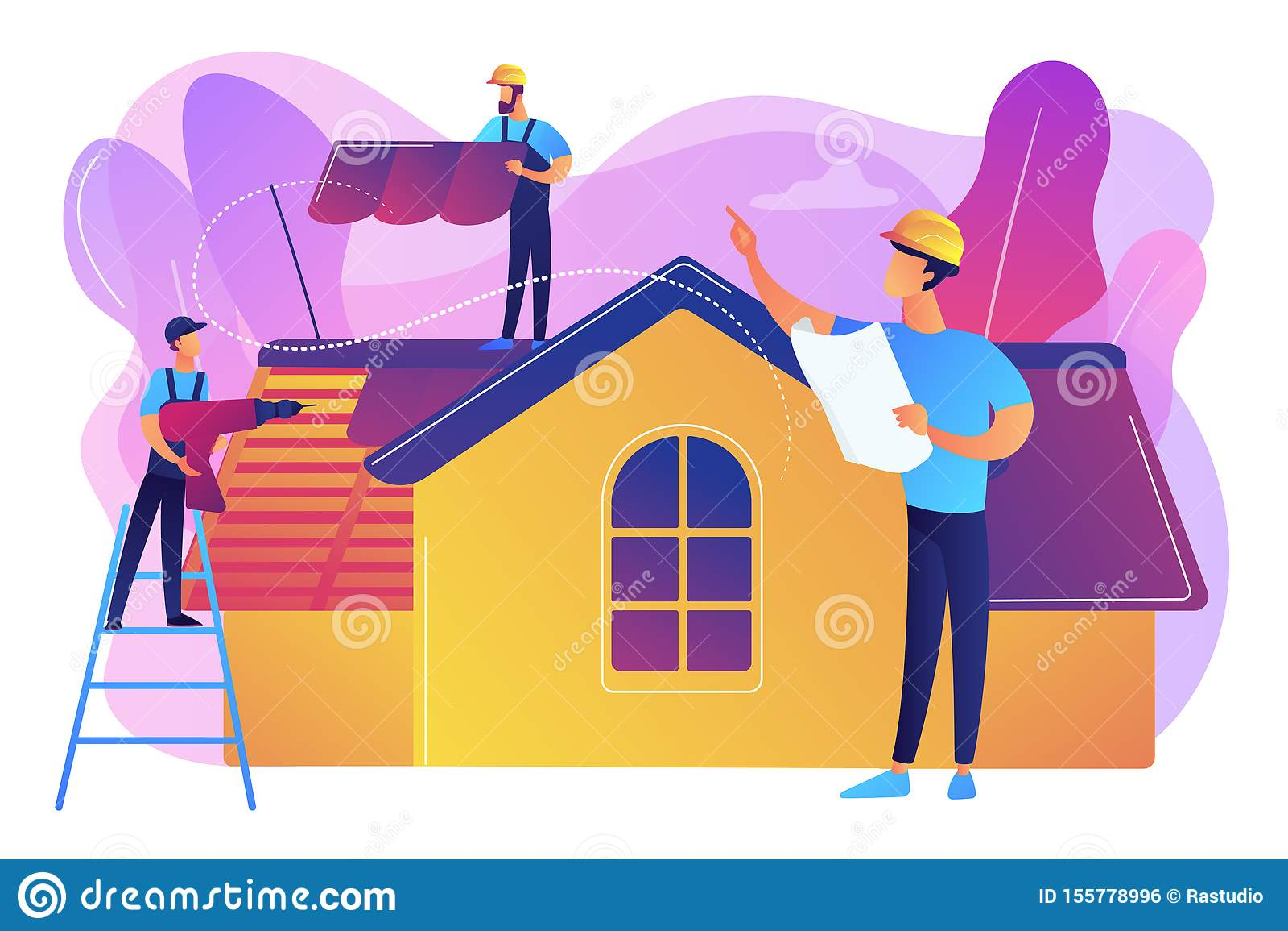 Het concepten vectorillustratie van de dakwerkdiensten