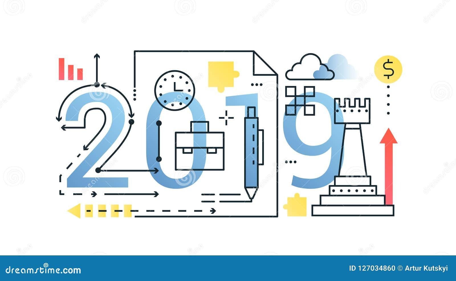 Het conceptenbanner van de bedrijfs 2019 woord in samenstelling De financiën van de overzichtsslag, geld, strategie, planning Vla