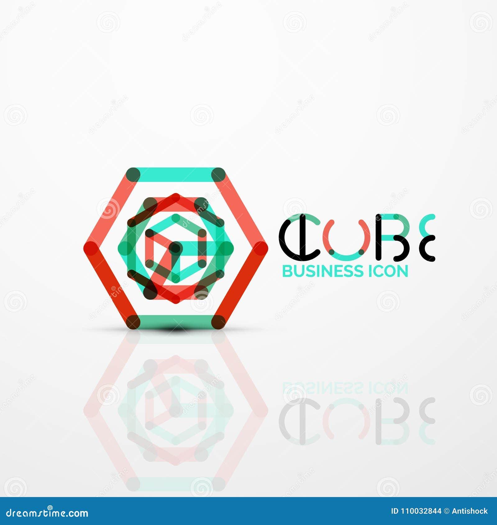 Het conceptenembleem van het kubusidee, lijn