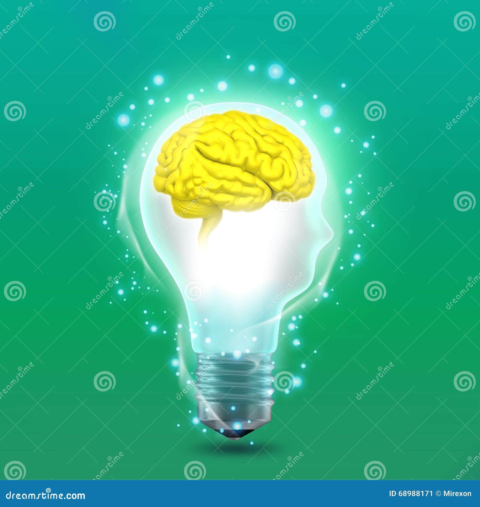 Het conceptenidee in vorm van man hoofd gloeilamp met hersenen