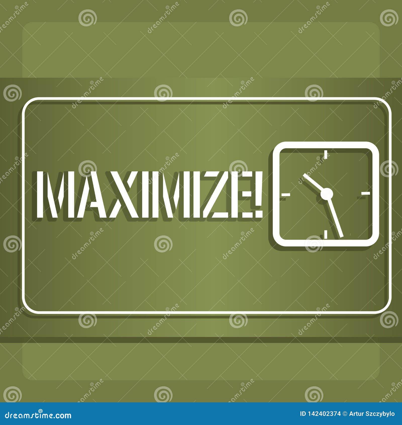 Het conceptuele hand het schrijven tonen maximaliseert Bedrijfsfoto demonstratieverhoging aan het grootste mogelijke bedrag of de