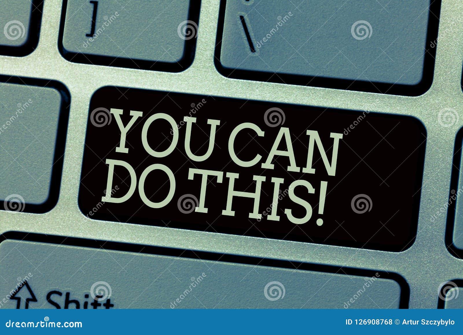 Het conceptuele hand het schrijven tonen u kan dit doen Het Enthousiasme en de bereidheid van de bedrijfsfototekst om uitdagingen