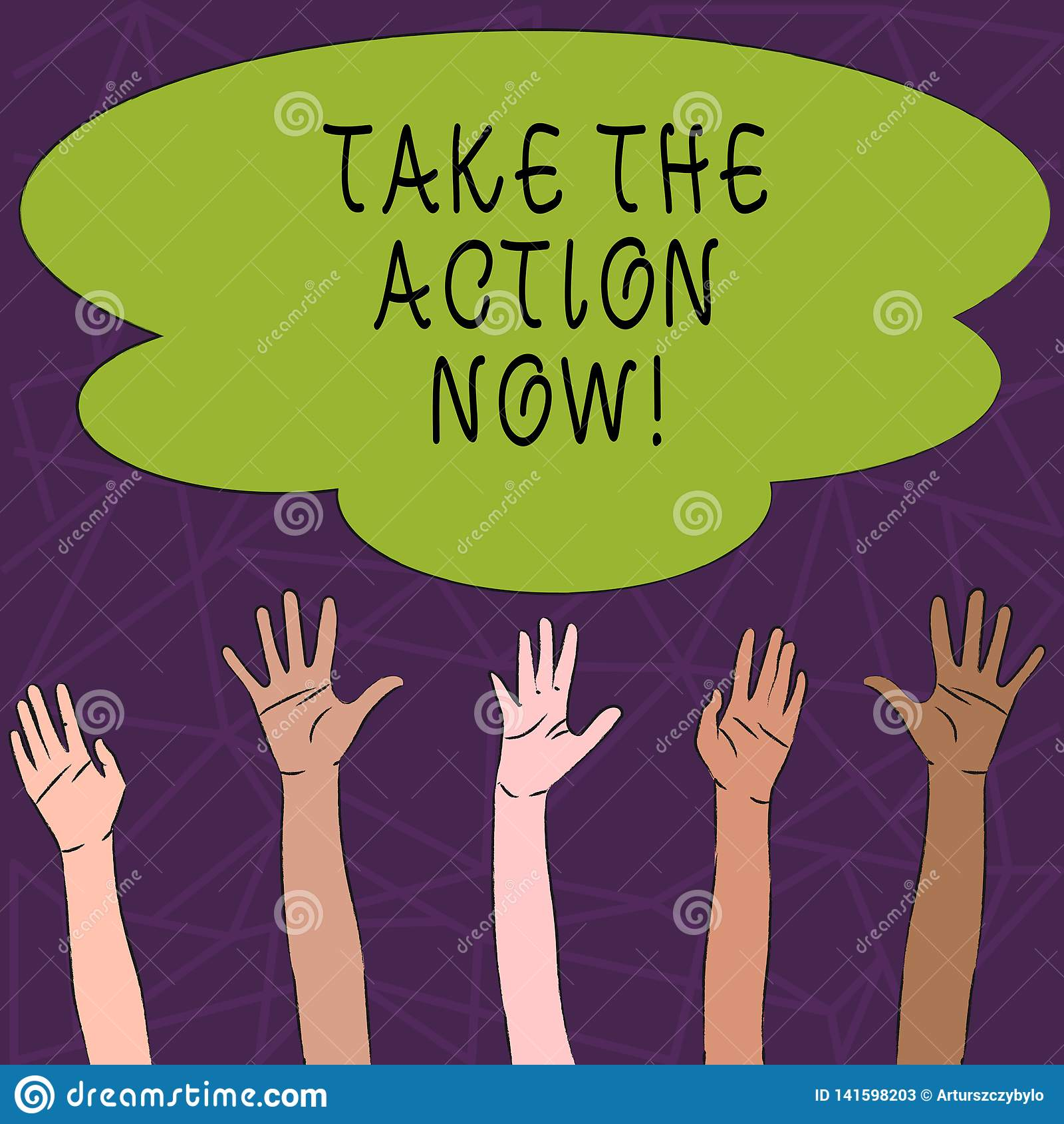 Het conceptuele hand het schrijven tonen voert nu de Actie Het Akte van de bedrijfsfototekst onmiddellijk Direct Begin onmiddelli