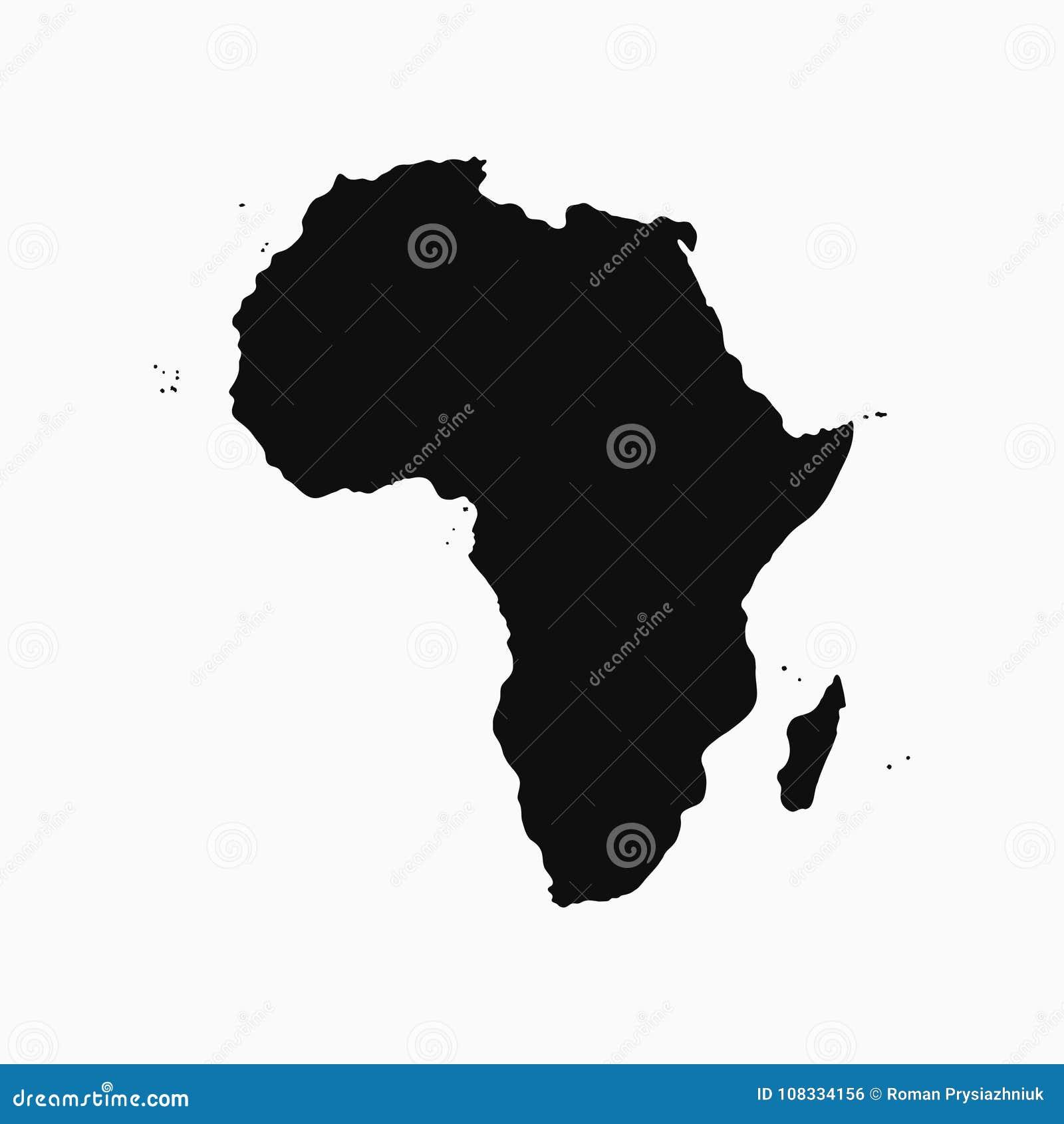 Het Continent van Afrika - kaart Zwart-wit vorm Vector
