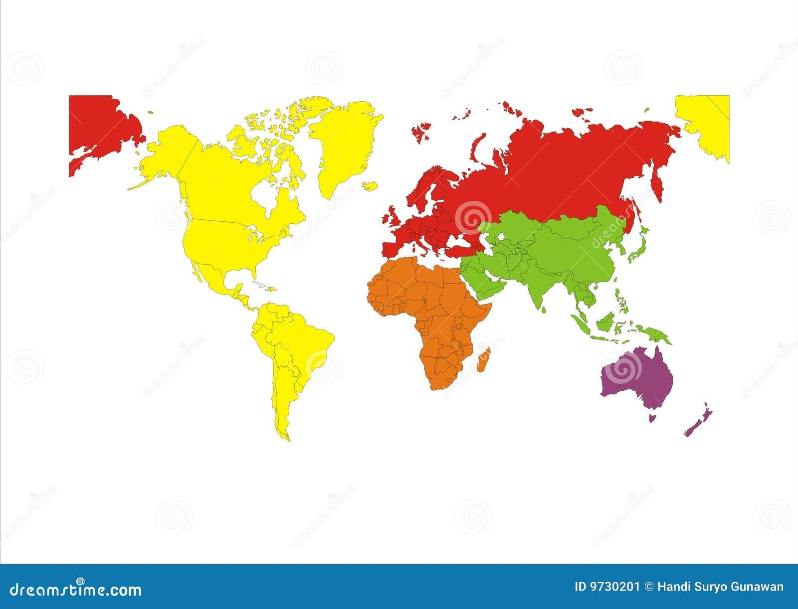 Het continent van de kaart van de wereld vector illustratie afbeelding 9730201 - Basket thuis van de wereld ...