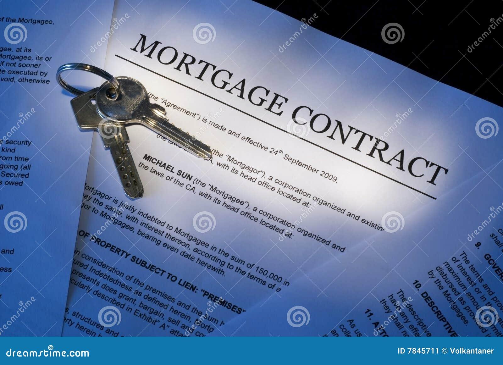 Het contract van de hypotheek