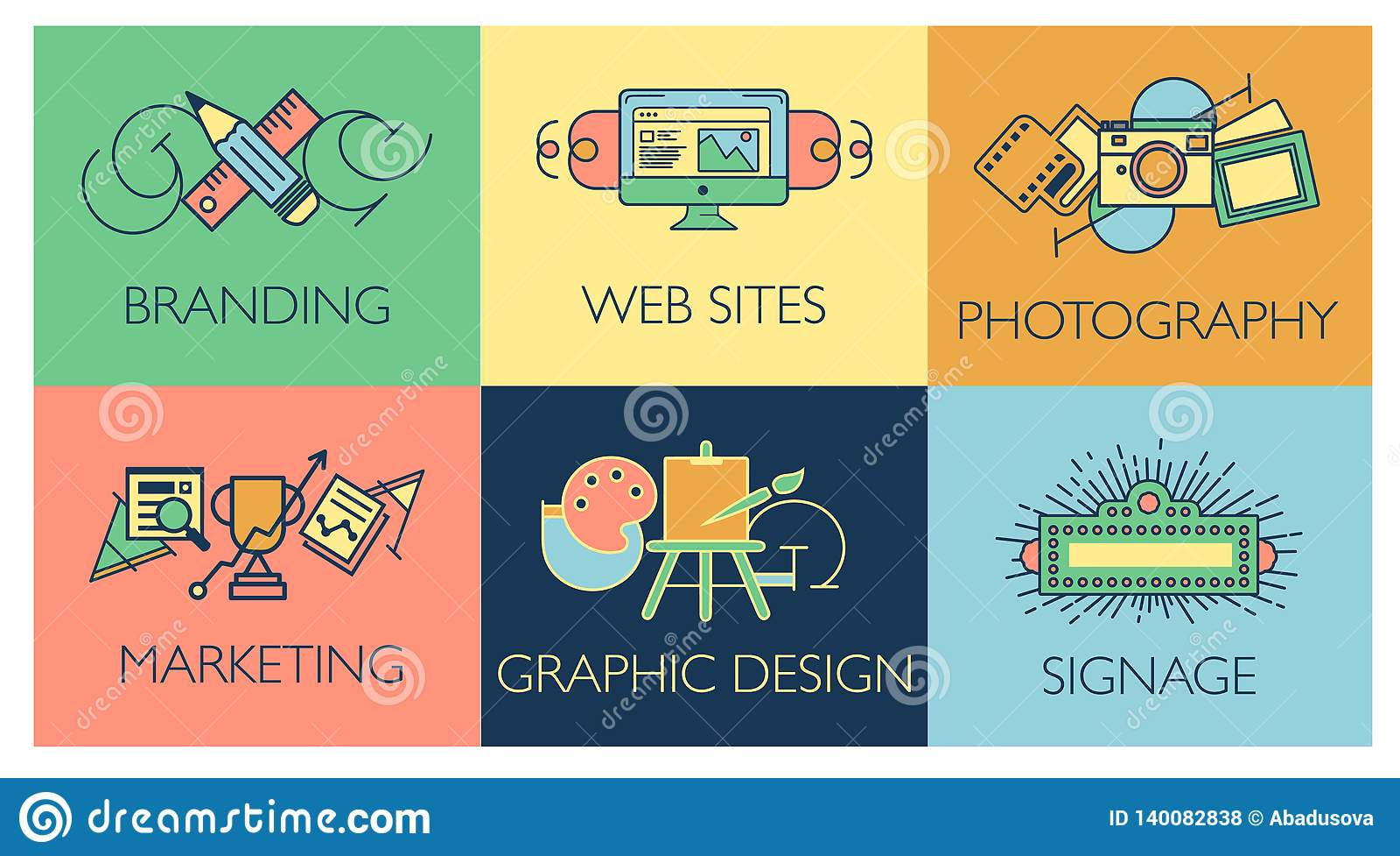 Het creatieve concept van het ontwerpproces met de ontwikkelingselementen van de Webstudio Vlakke moderne de stijl vectorillustra
